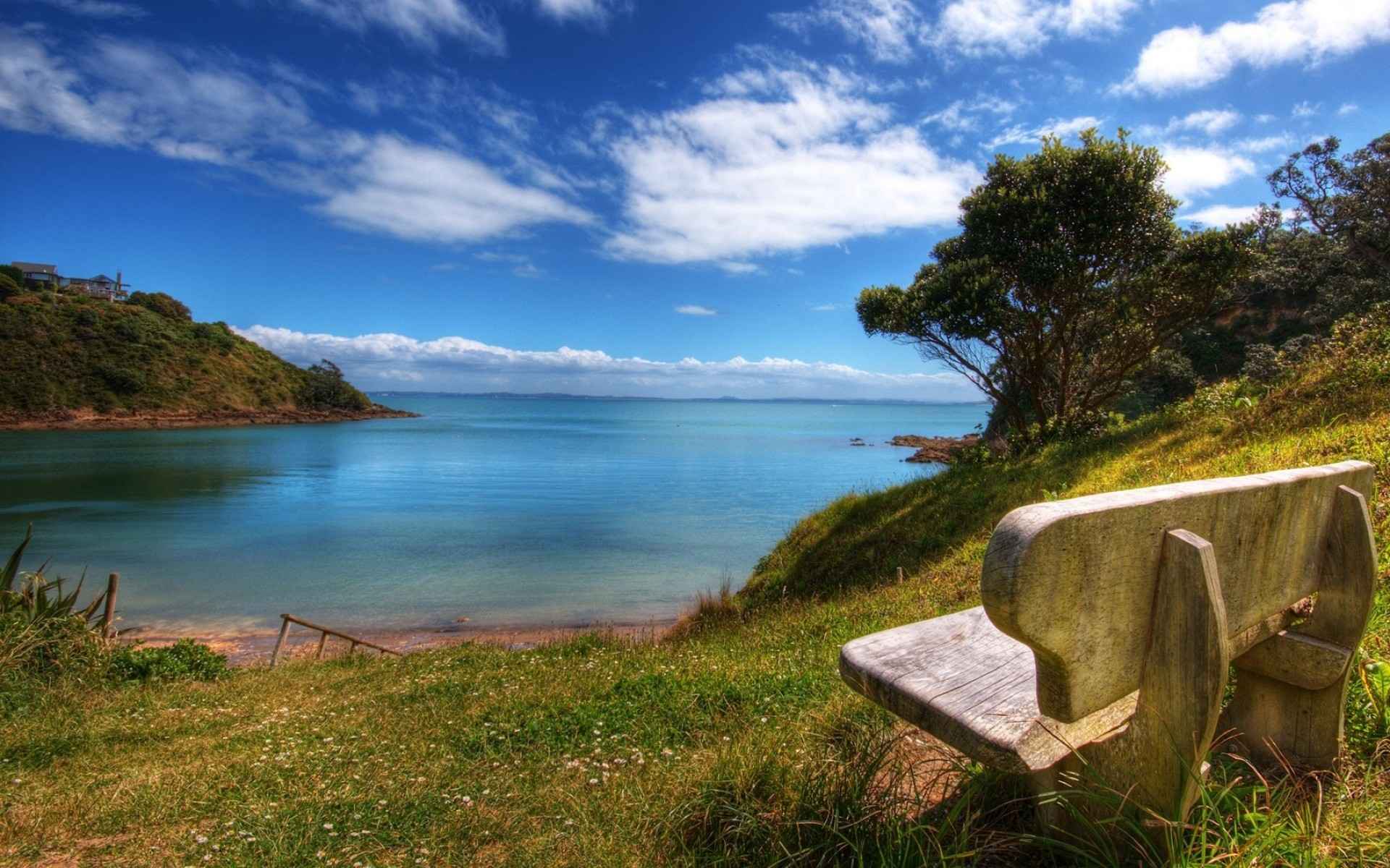 Res: 1920x1200, Image: Lovely Ocean Scenery & Bench wallpapers and stock photos. Â«