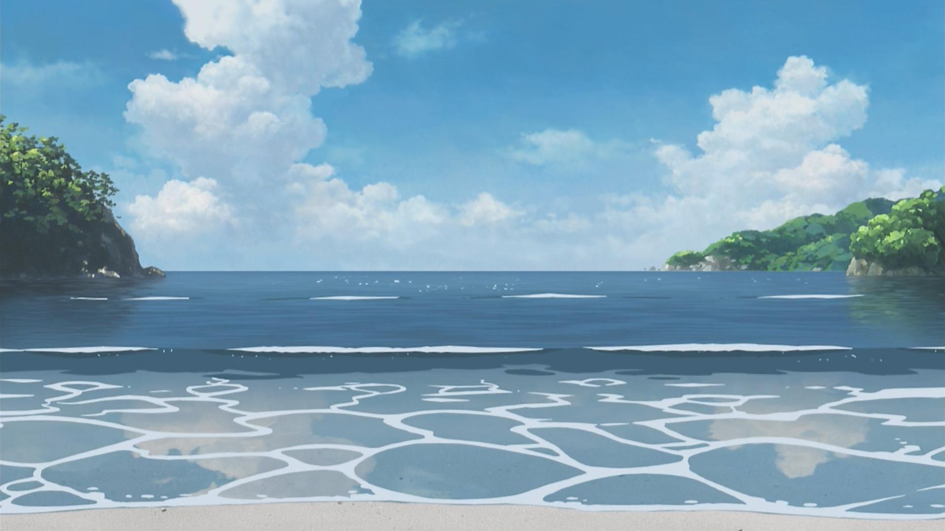 Res: 1920x1080, Anime Beach Scenery Wallpaper 6379  - uMad.com