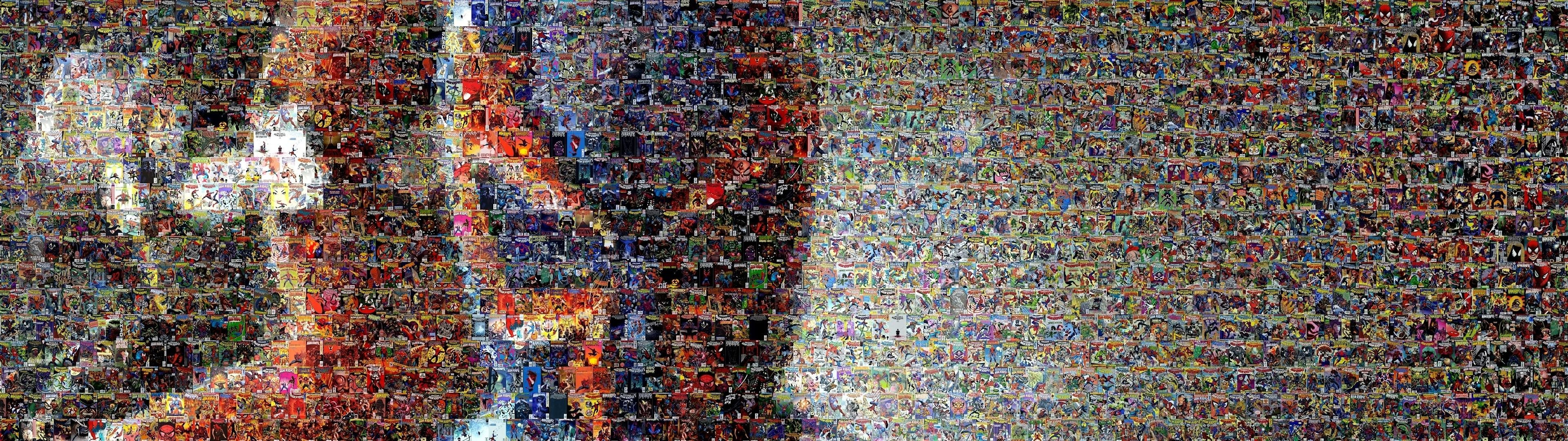 Res: 3840x1080, Spiderman Mosaic Marvel Comics Collage Multi Dual Screen abstract wallpaper Wallpapers HD / Desktop and Mobile Backgrounds