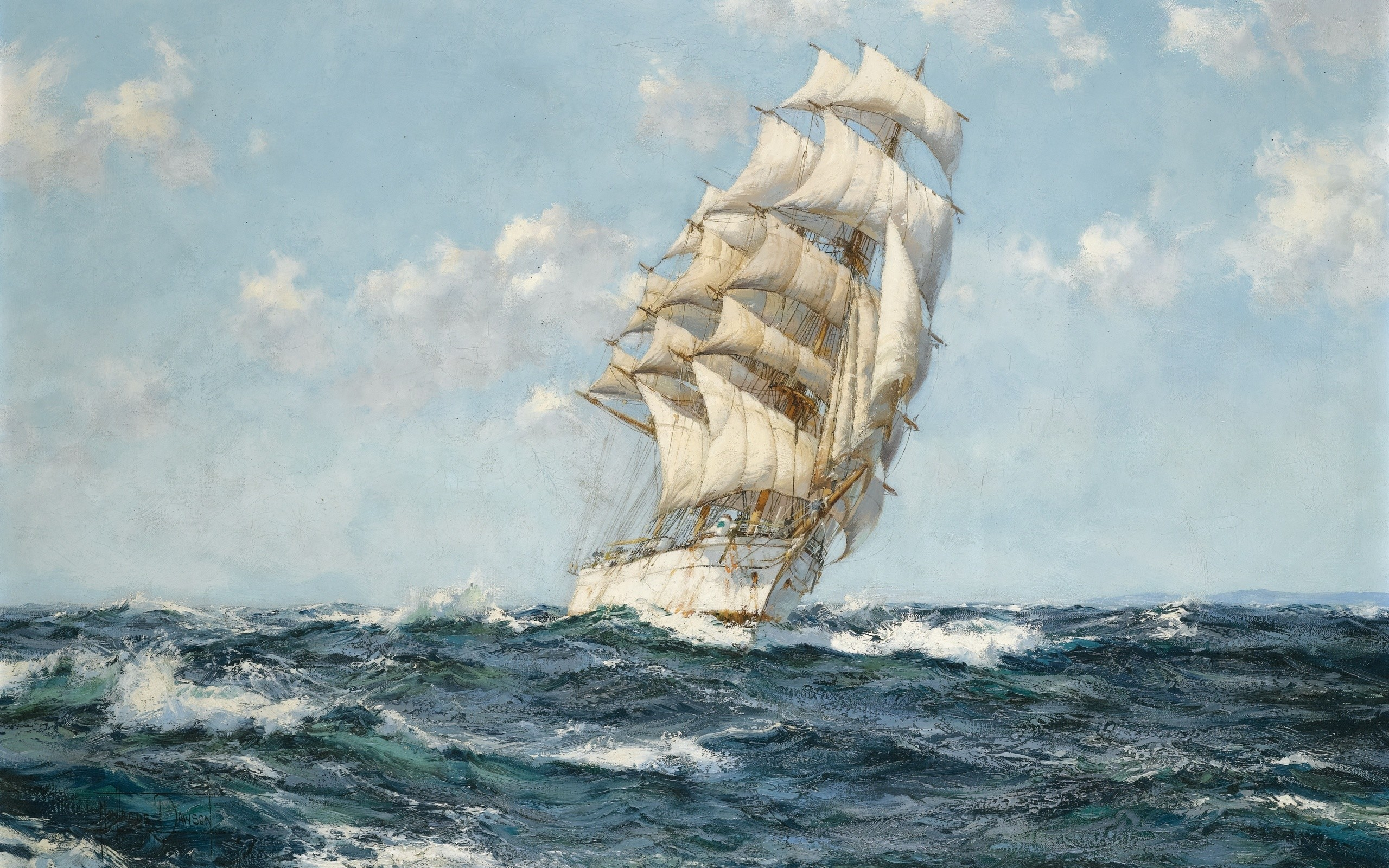 Res: 2560x1600, Artistic Sailing Ship Background