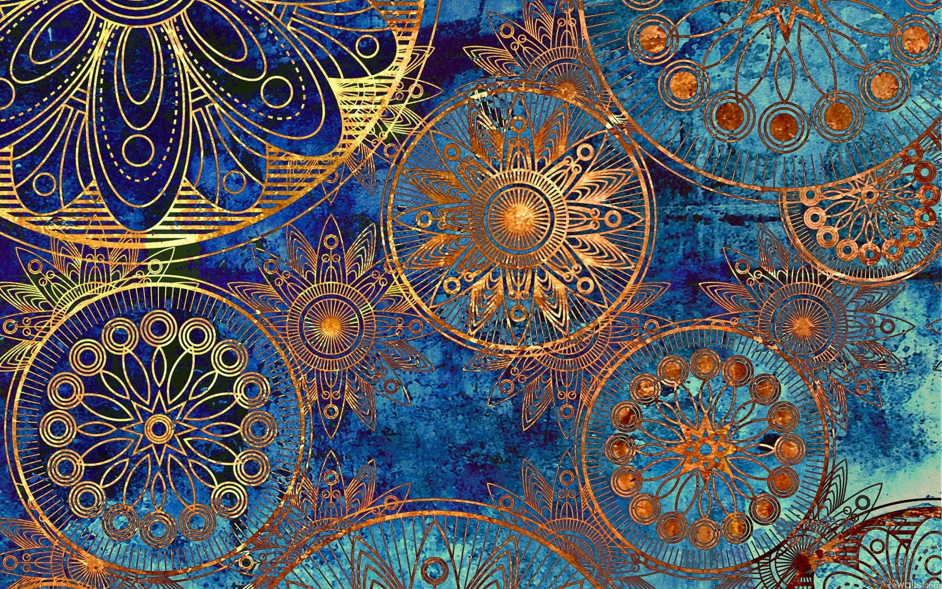 Res: 1920x1200, Absolutely {heart} this Blue & Gold Vintage Pattern Desktop Wallpaper.