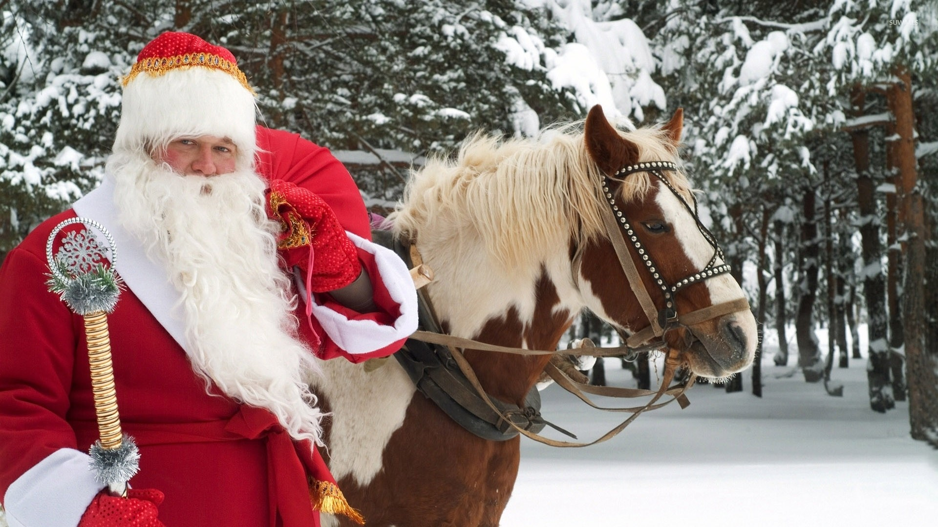 Res: 1920x1080, Santa Claus with a horse wallpaper