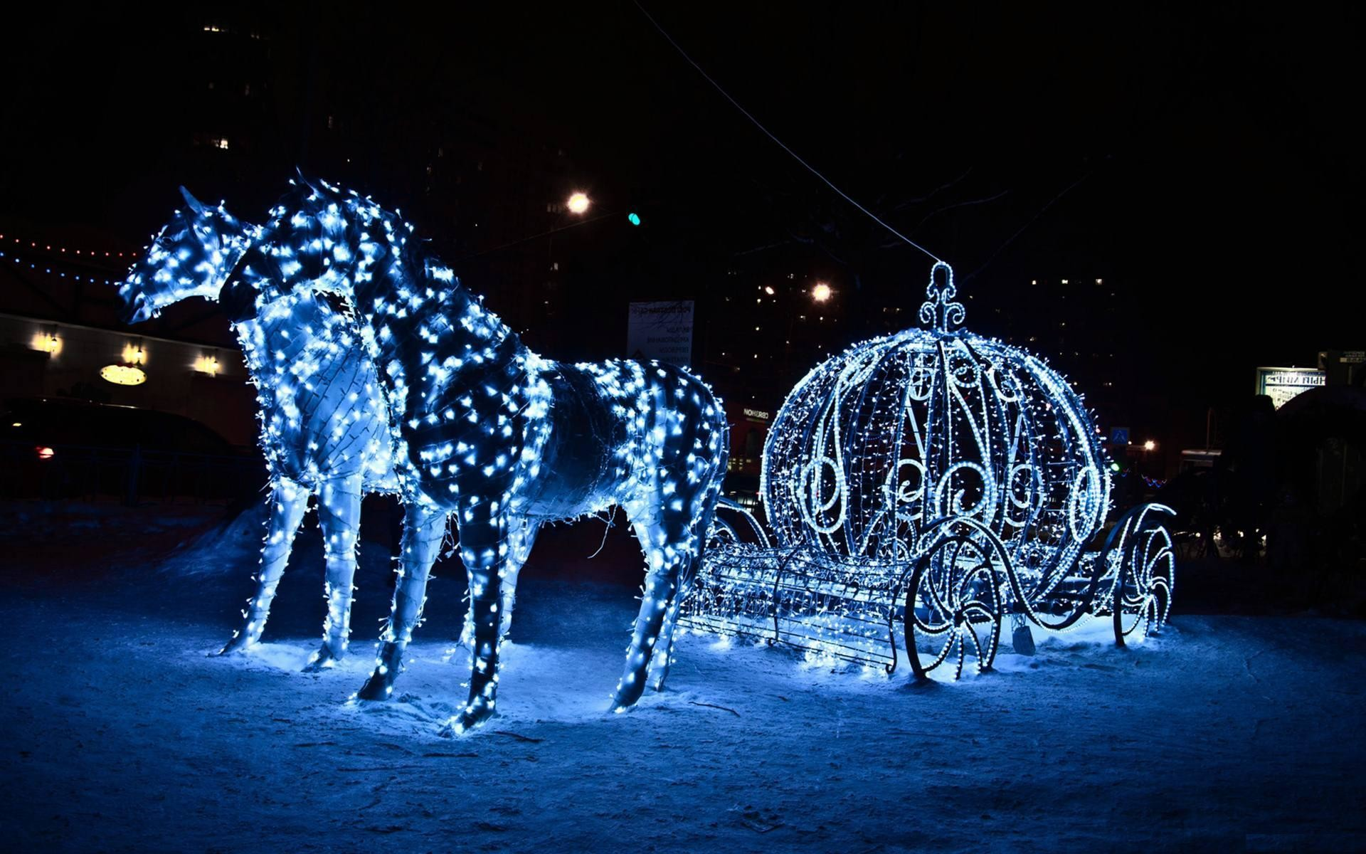 Res: 1920x1200, Christmas Horse in Night Blue Light Wallpapers