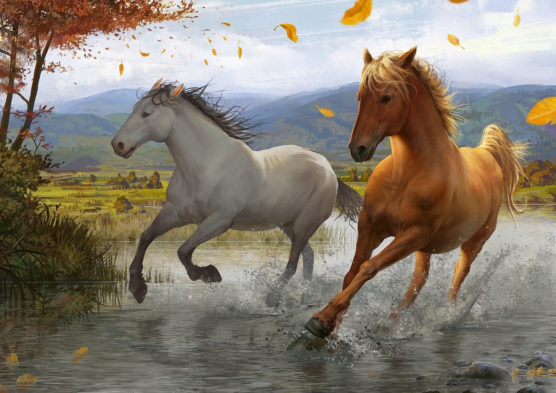 Res: 1920x1358, Foliage Spray Horse Wind River Running Art Tree Christmas Animal Wallpaper  Desktop