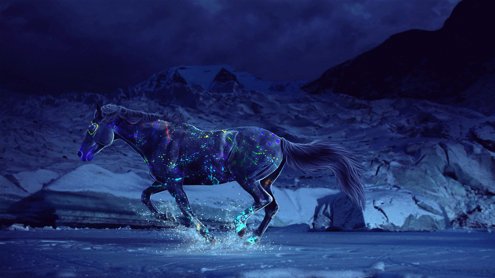 Res: 1920x1080, Horse-Running-In-The-Christmas-Dark ·  merry_christmas_multi_display_by_digitalphenom