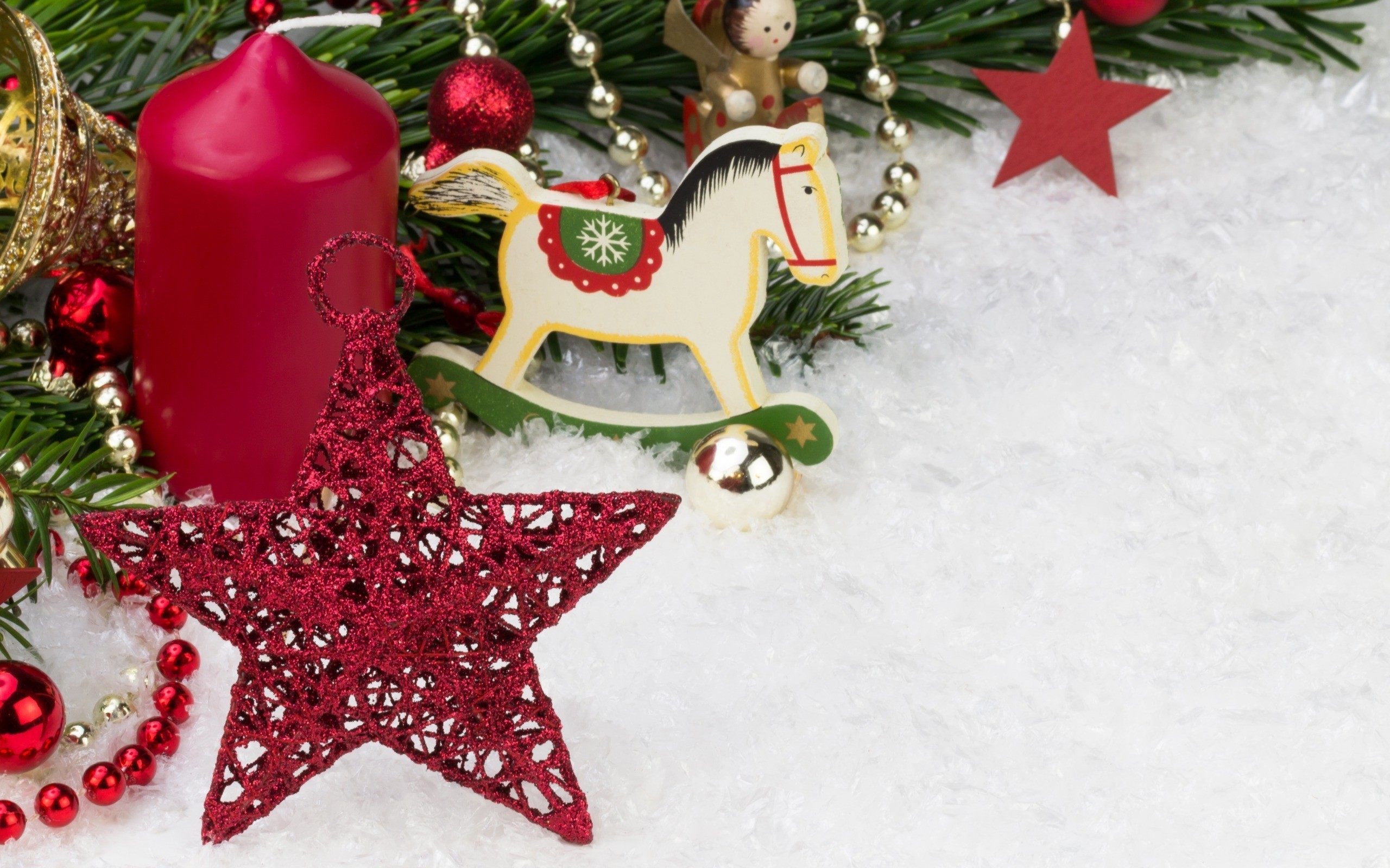Res: 2560x1600, new year snow horse decorations stars candles christmas ornaments Wallpapers  HD / Desktop and Mobile Backgrounds