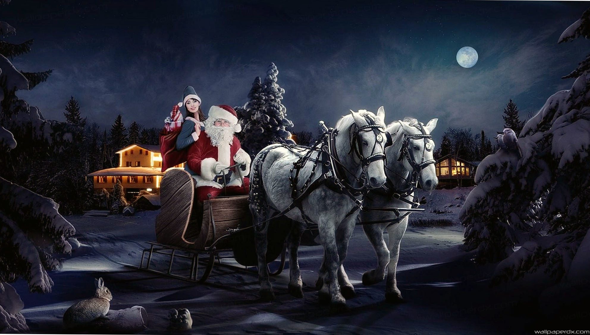 Res: 1984x1127, santa claus sleigh girl horse tree night christmas bag gifts hd wallpaper -  Full Hd Original Size