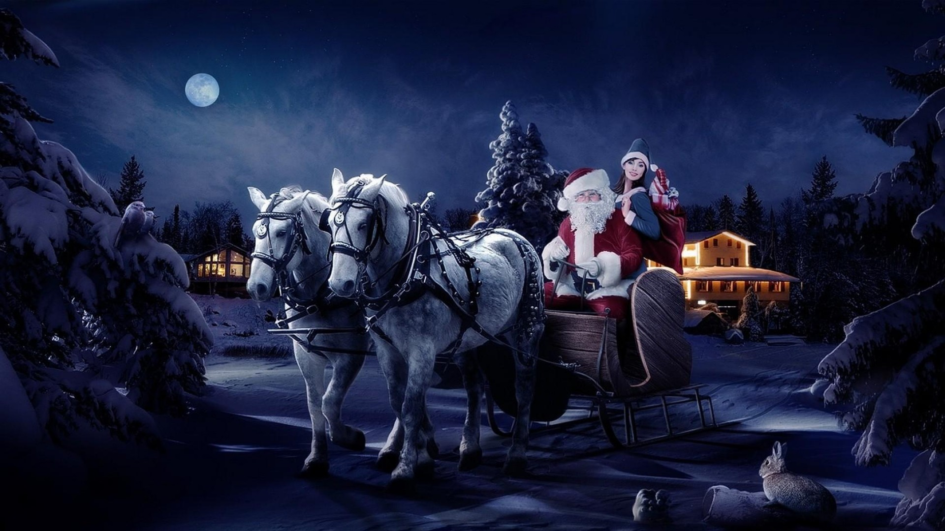 Res: 1920x1080, Get the latest santa claus, sleigh, girl news, pictures and videos and  learn all about santa claus, sleigh, girl from wallpapers4u.org, your  wallpaper news ...