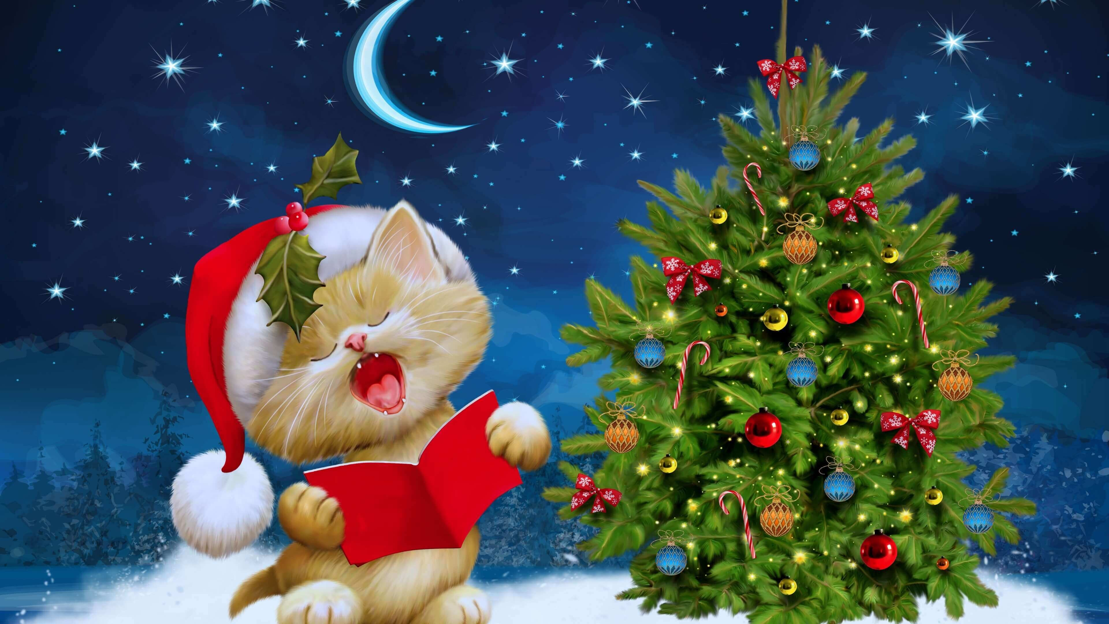 Res: 3840x2160, Beautiful Merry Christmas Kitten Wallpapers