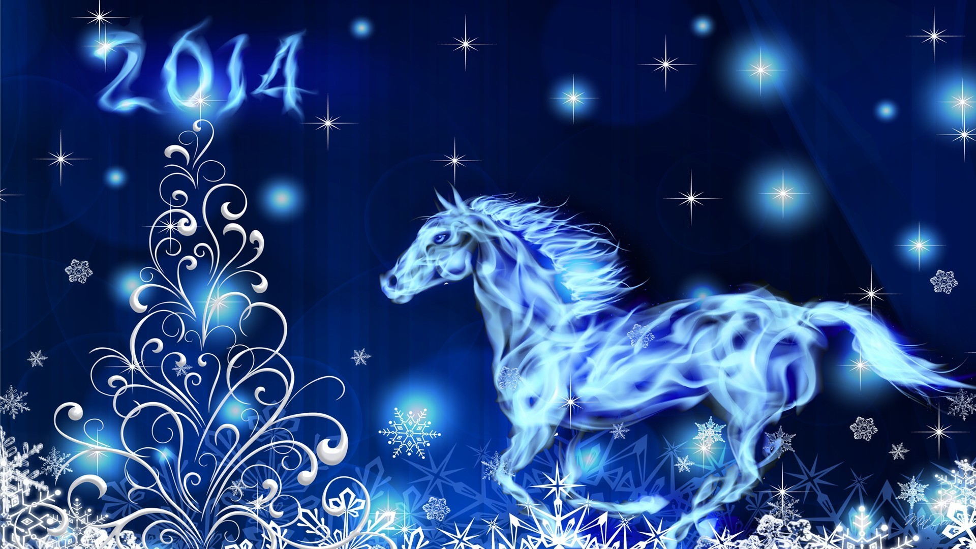 Res: 1920x1080, Blue Horse New Year Christmas Tree Years Glow Stars Snowflakes Lights  Flaming Holiday Wallpaper Beautiful Winter