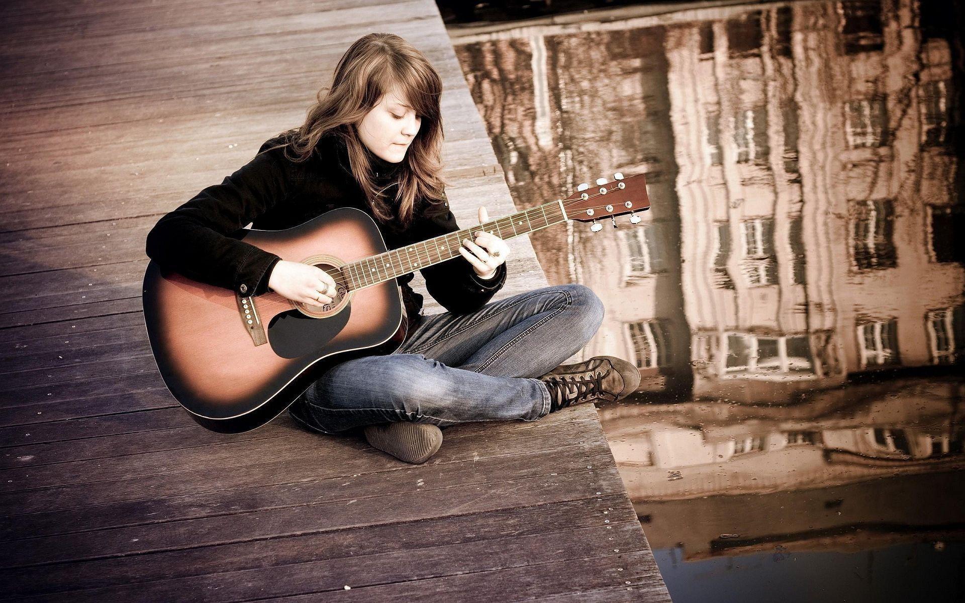 Res: 1920x1200, Girl Playing Guitar