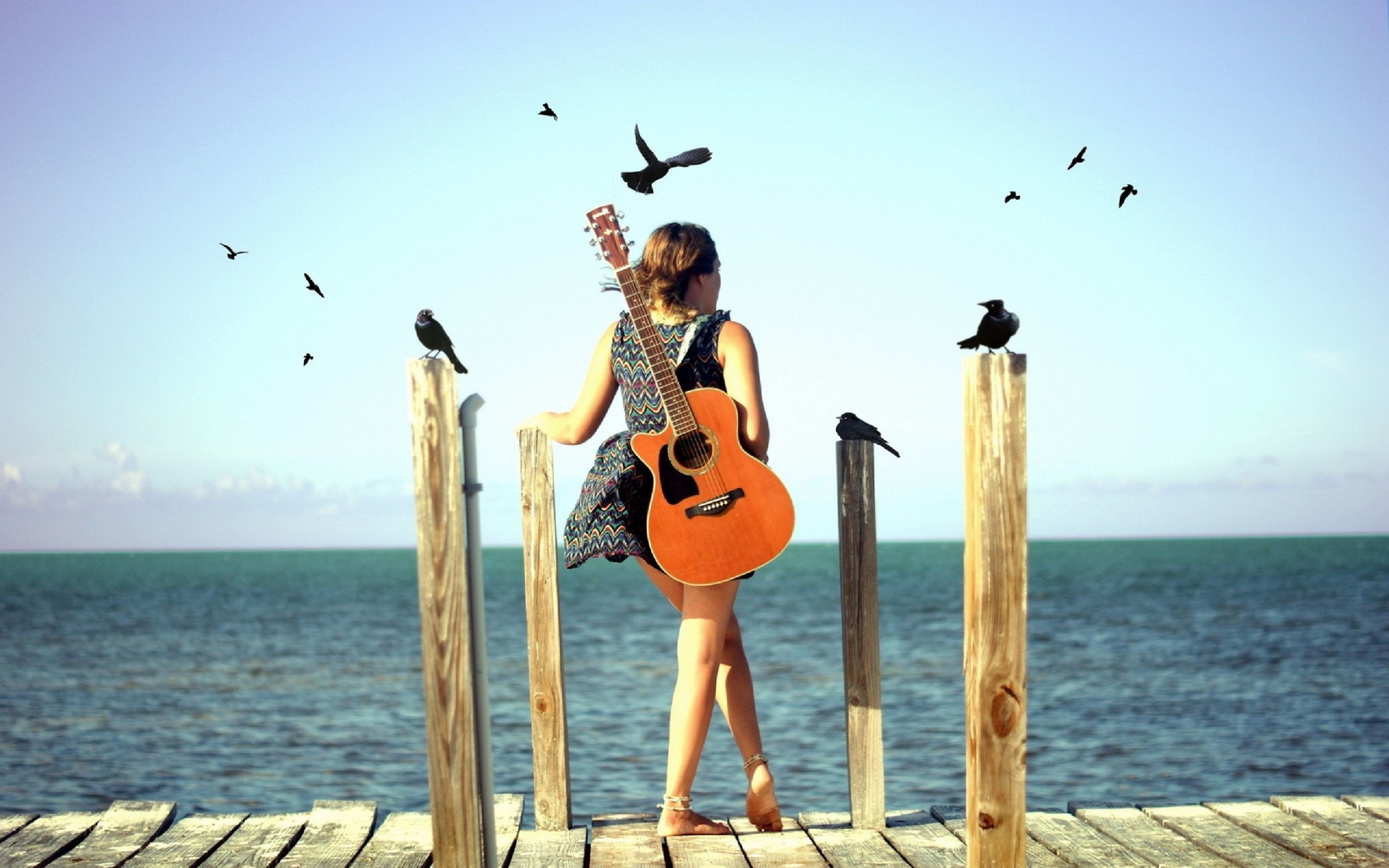 Res: 2816x1760, Cute Stylish Girls with Guitar Wallpaper
