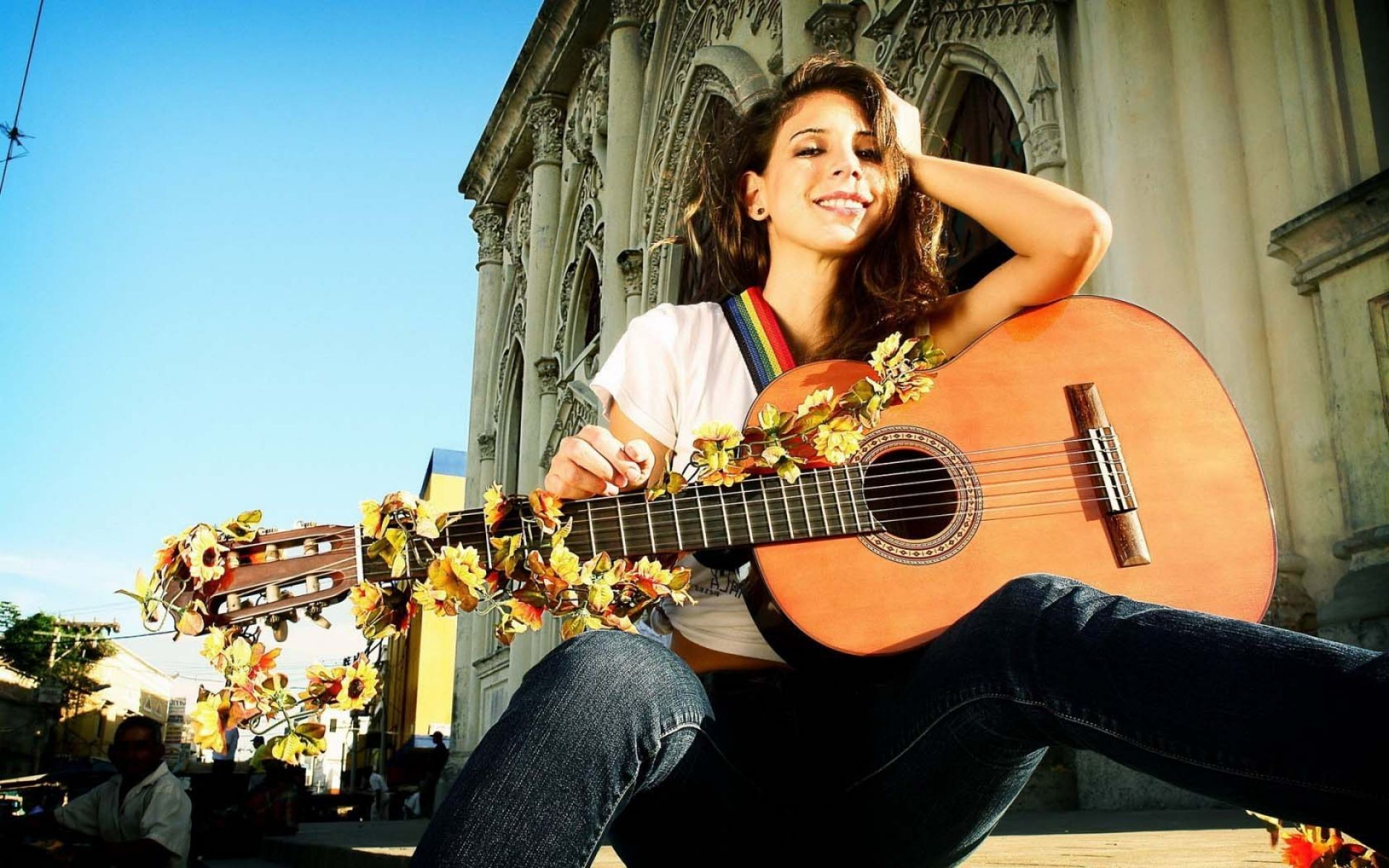 Res: 1920x1200, girl playing guitar Wallpaper   HD Dance and Music Wallpaper Free Download  ...
