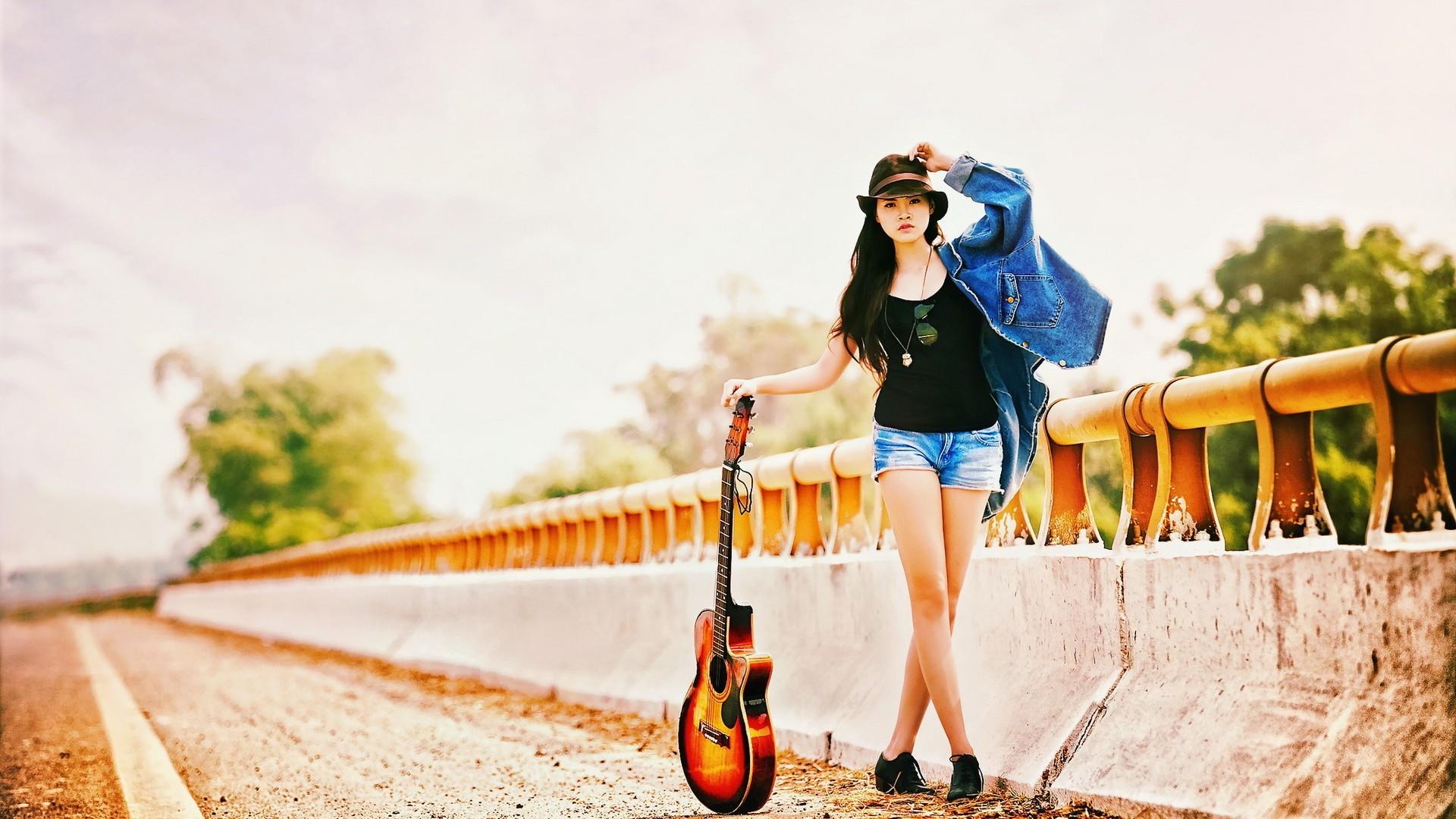 Res: 1920x1080, Guitar Girl. Wallpaper: Guitar Girl