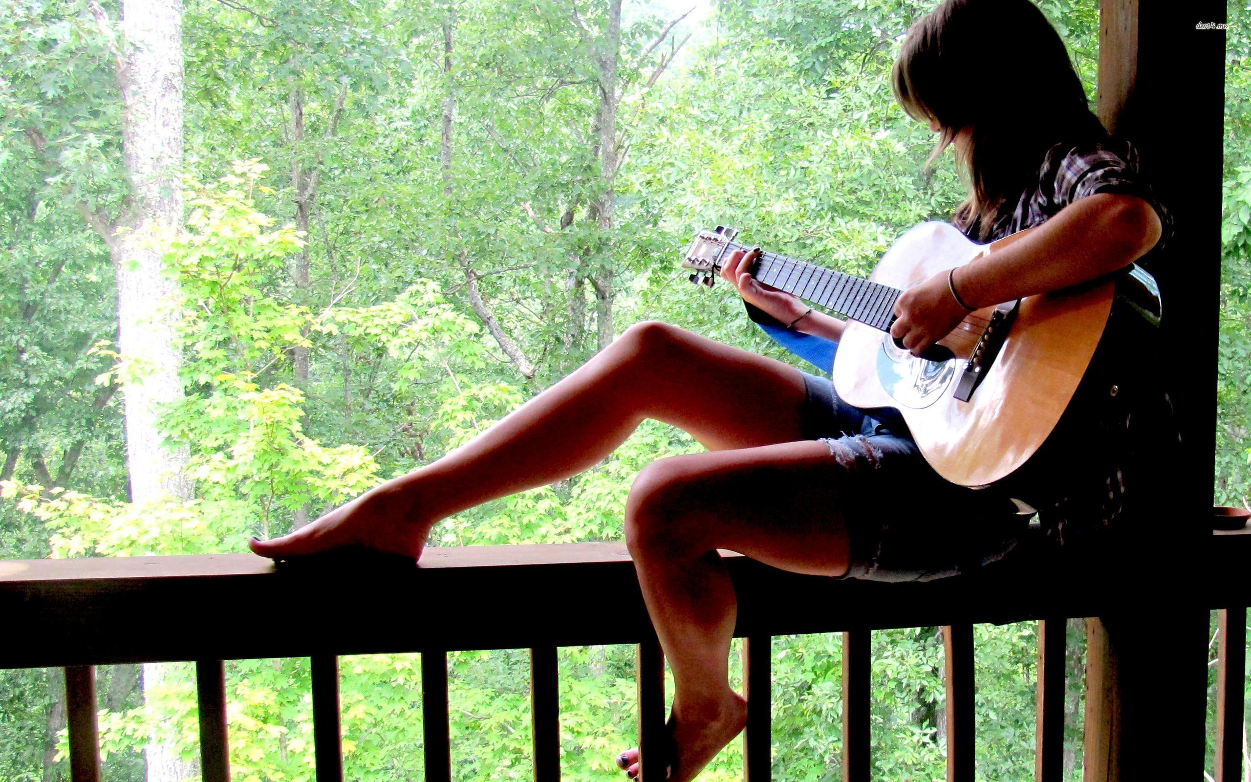 Res: 2560x1600, ... Girl playing the guitar wallpaper  ...