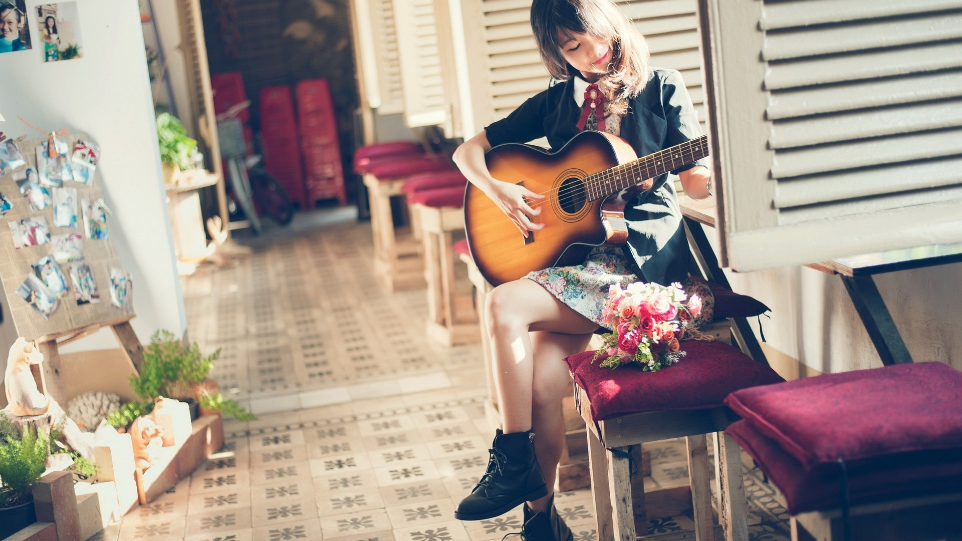 Res: 1920x1080, Women and Guitars   Girl with guitar wallpapers and images - wallpapers,  pictures, photos