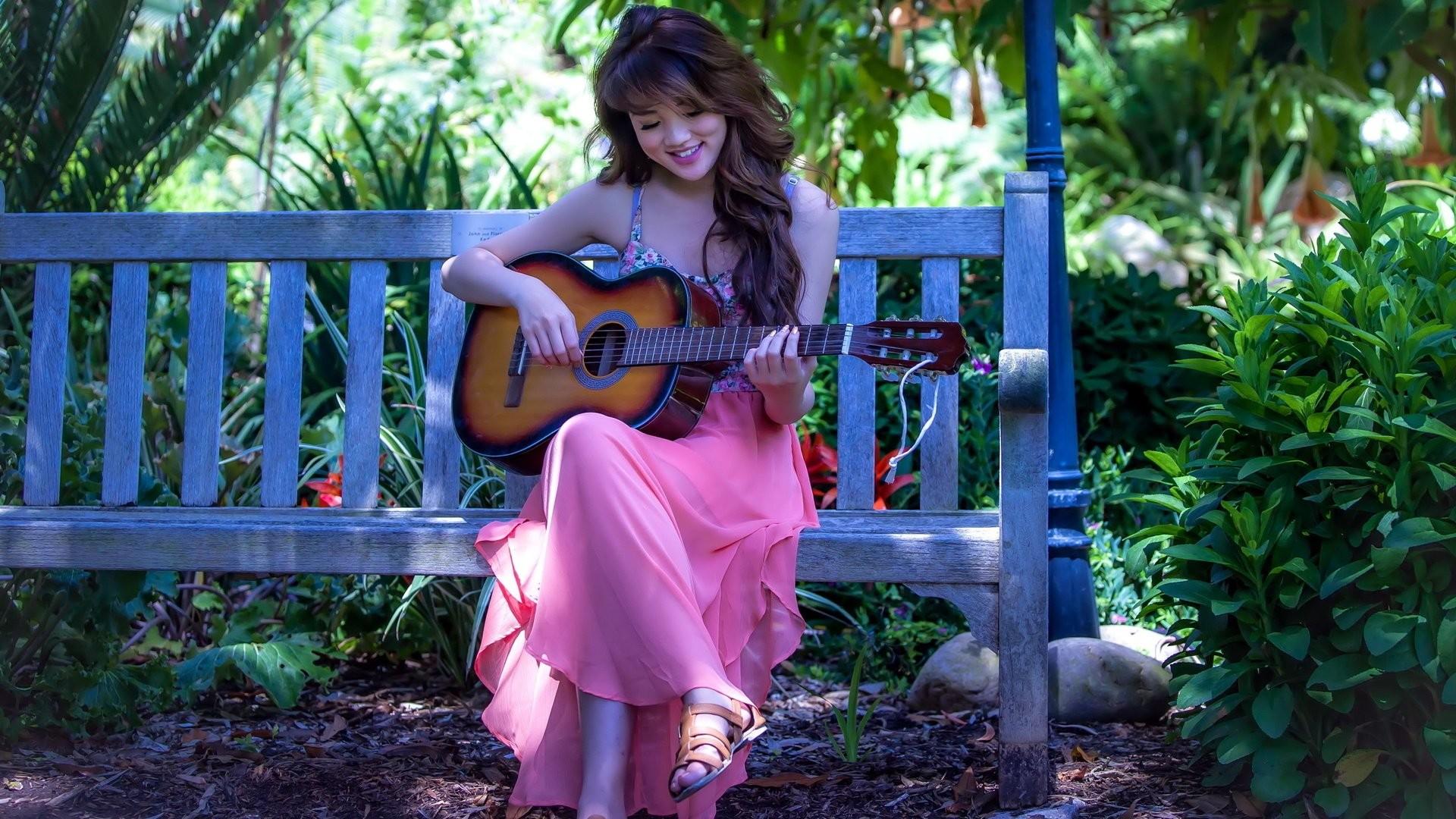 Res: 1920x1080, Pink dress long hair girl guitar music A wallpaper      639118    WallpaperUP