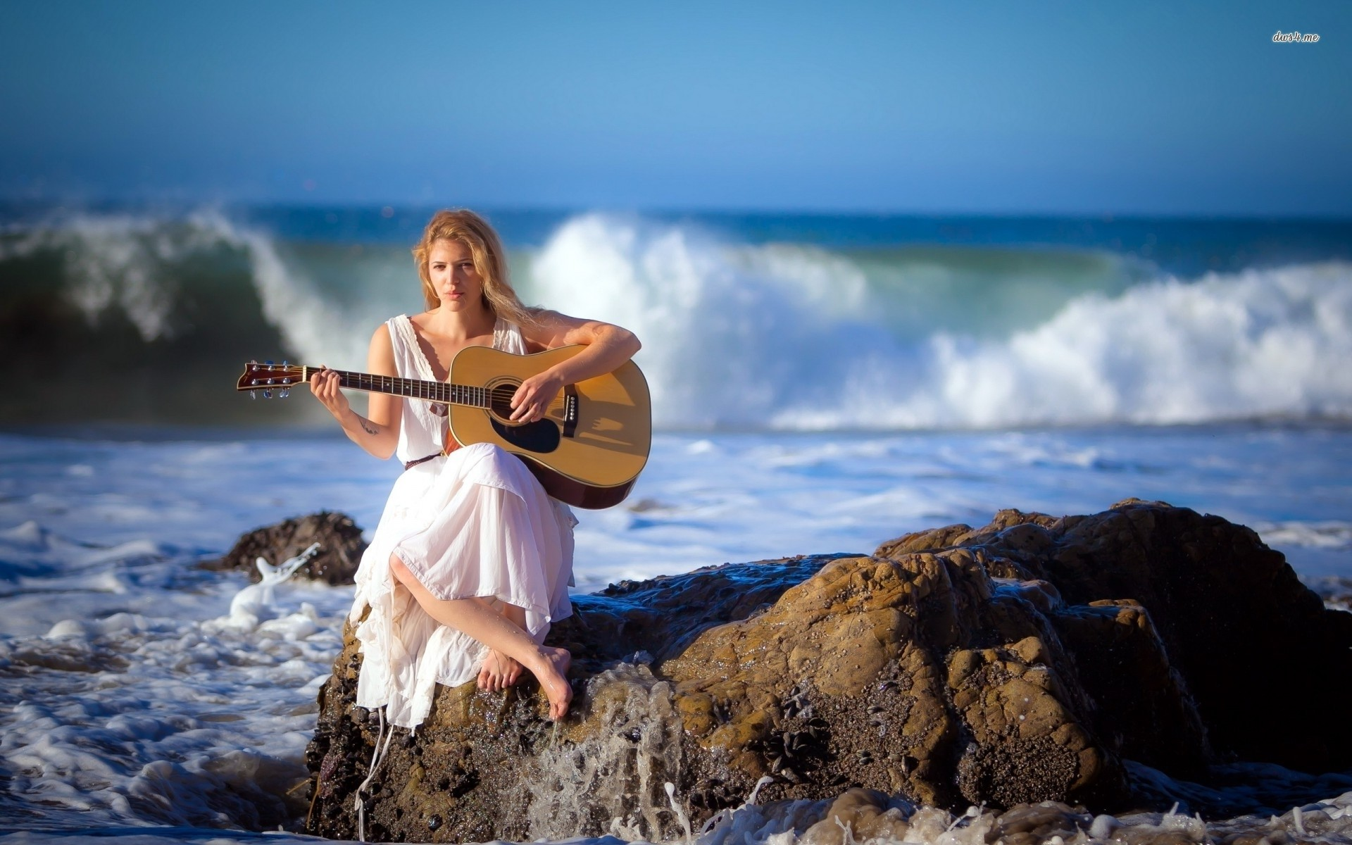 Res: 1920x1200, ... Blonde girl playing guitar on the rocky ocean shore wallpaper   ...