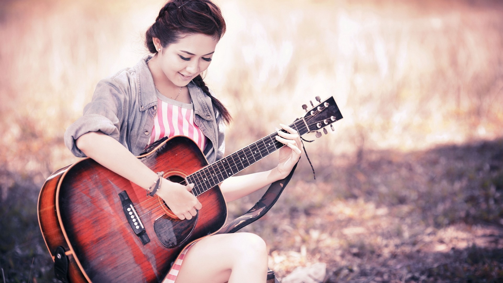 Res: 1920x1080, Cute Stylish Girls With Guitar Wallpaper. Download : Original Resolution
