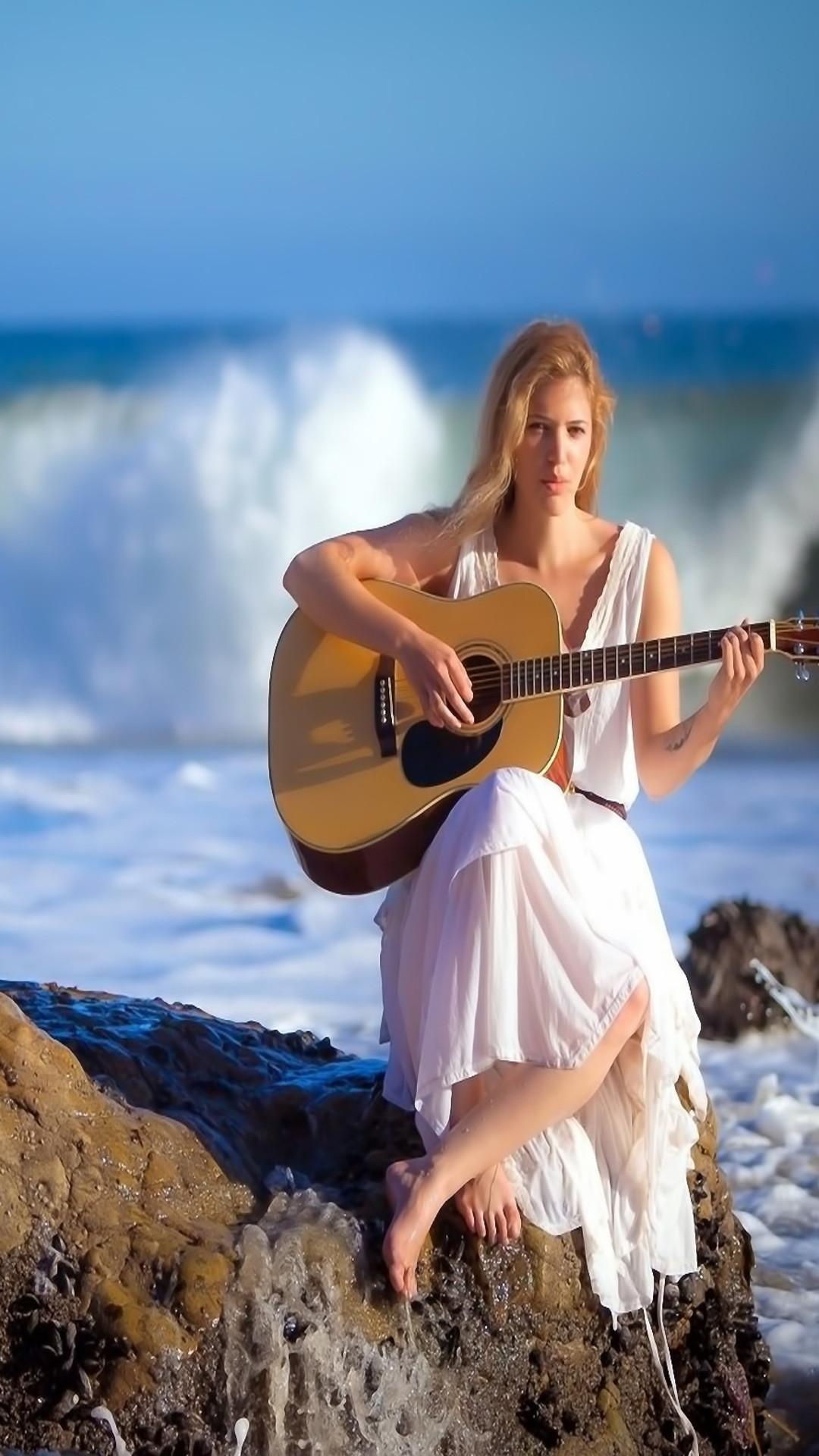Res: 1080x1920, Beautiful girl play Guitar at seashore iphone wallpapers