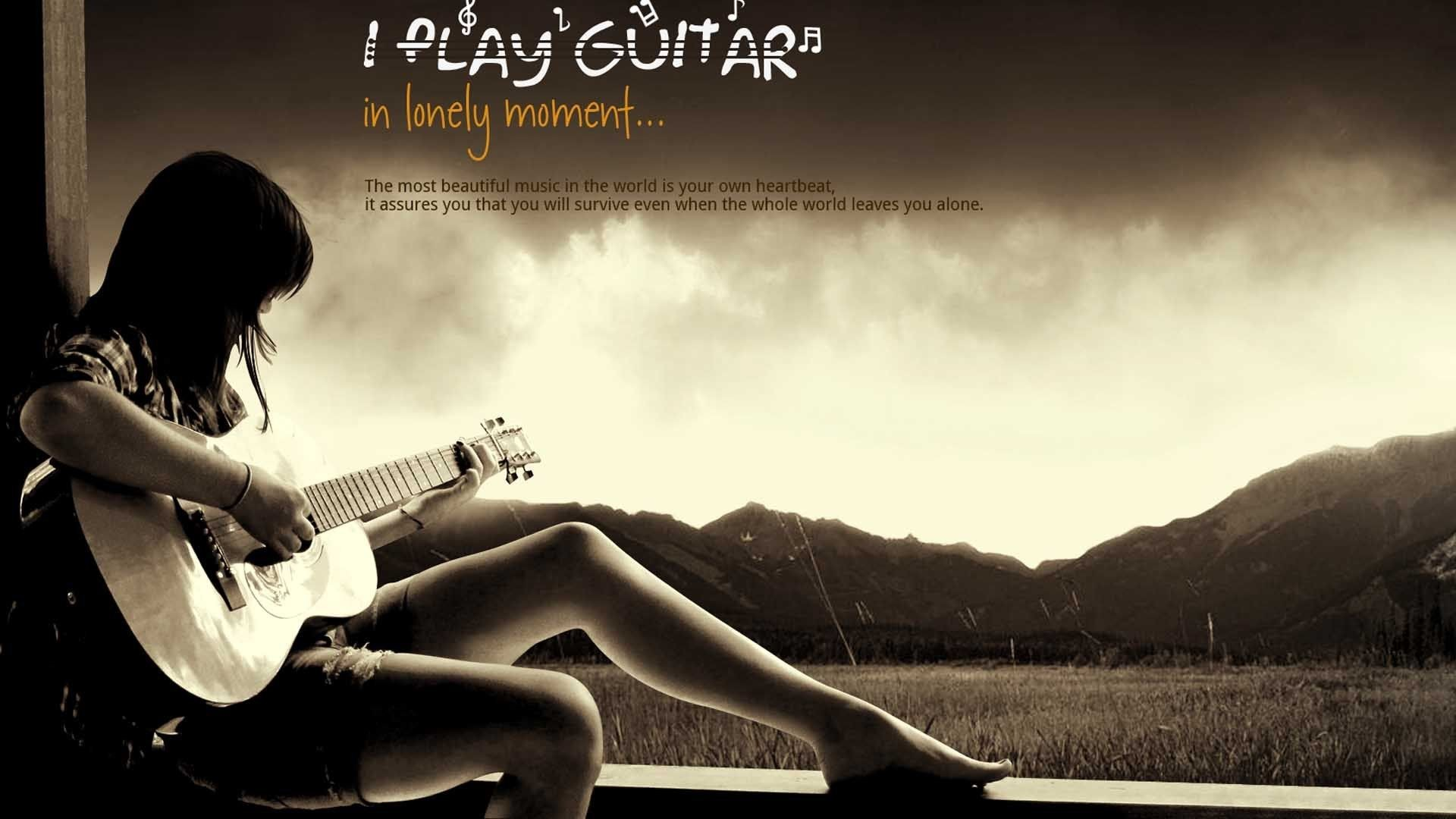 Res: 1920x1080, alone girl play guitar hd wallpapers free download