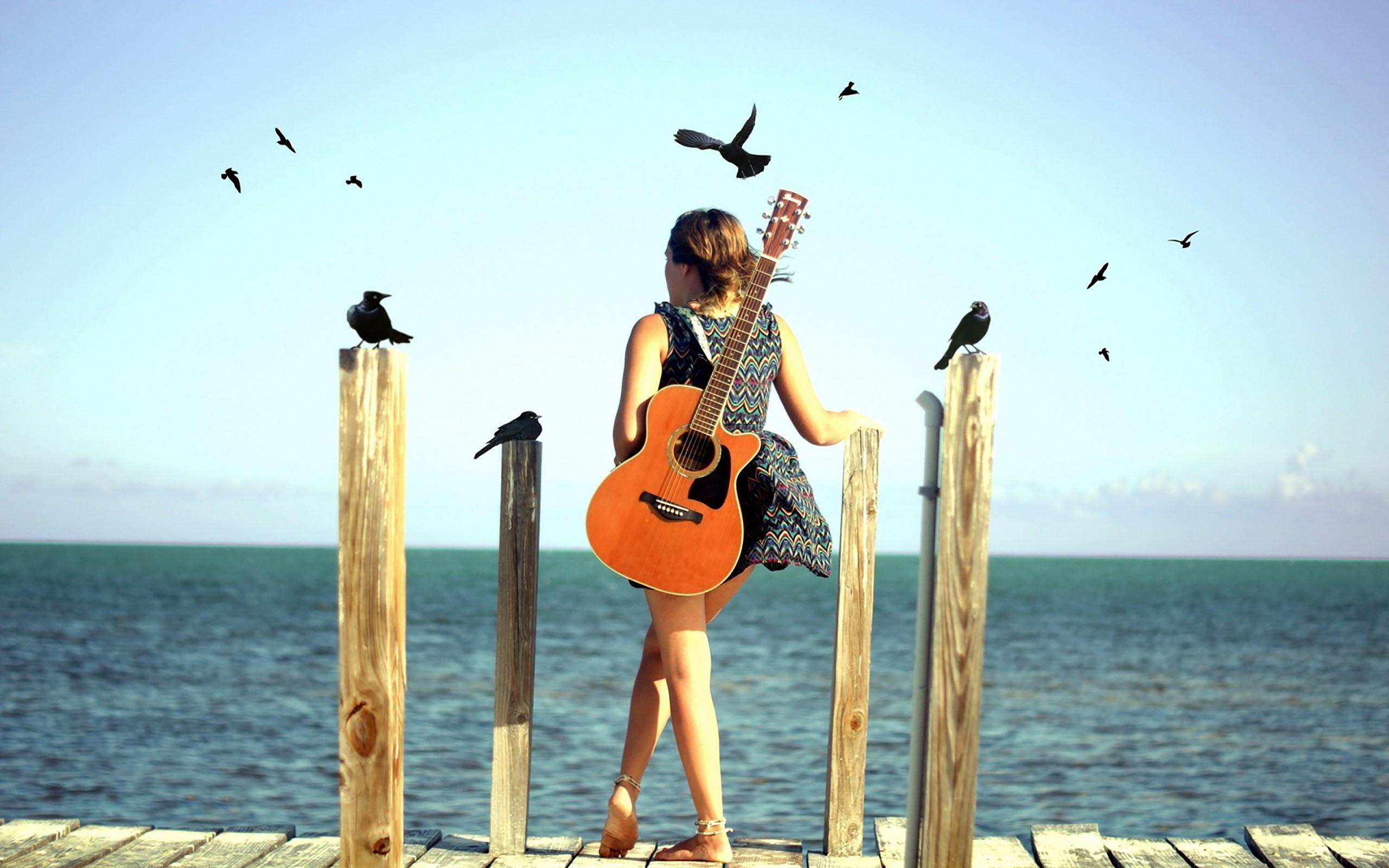 Res: 2560x1600, Guitar Girl Beach Alone HD