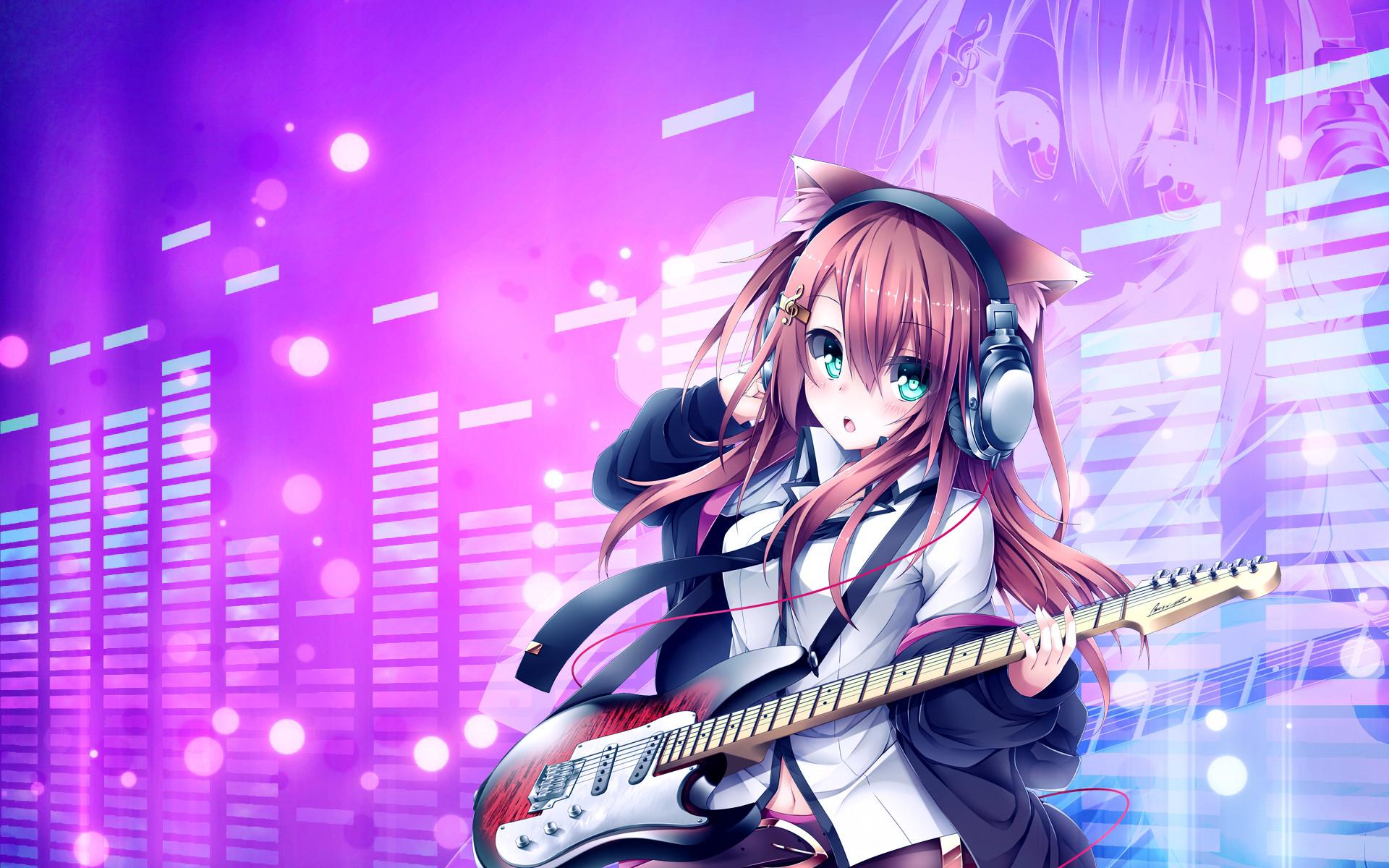 Res: 1920x1200, Guitar Anime Girl Wallpaper HD Wallpaper