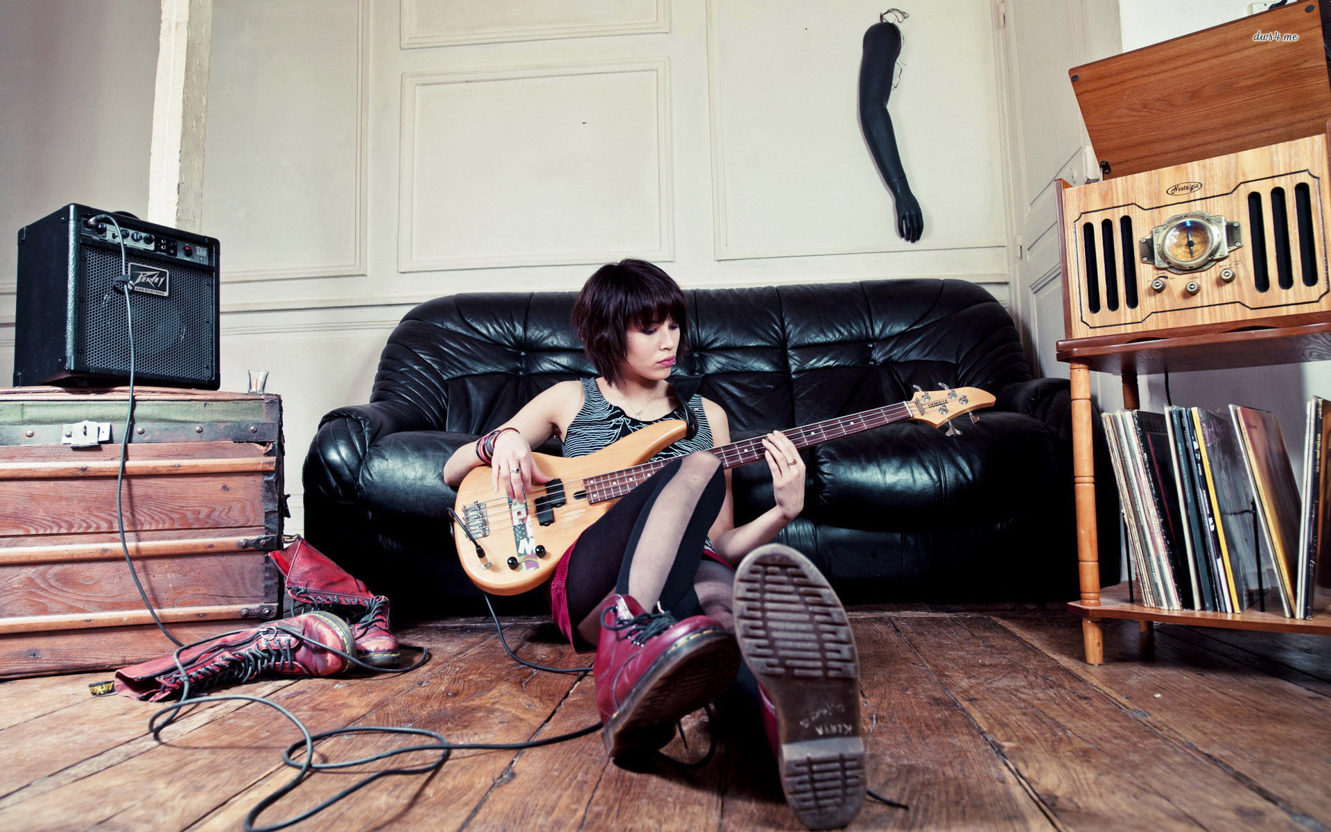 Res: 1920x1200, ... Girl playing an electric guitar wallpaper  ...