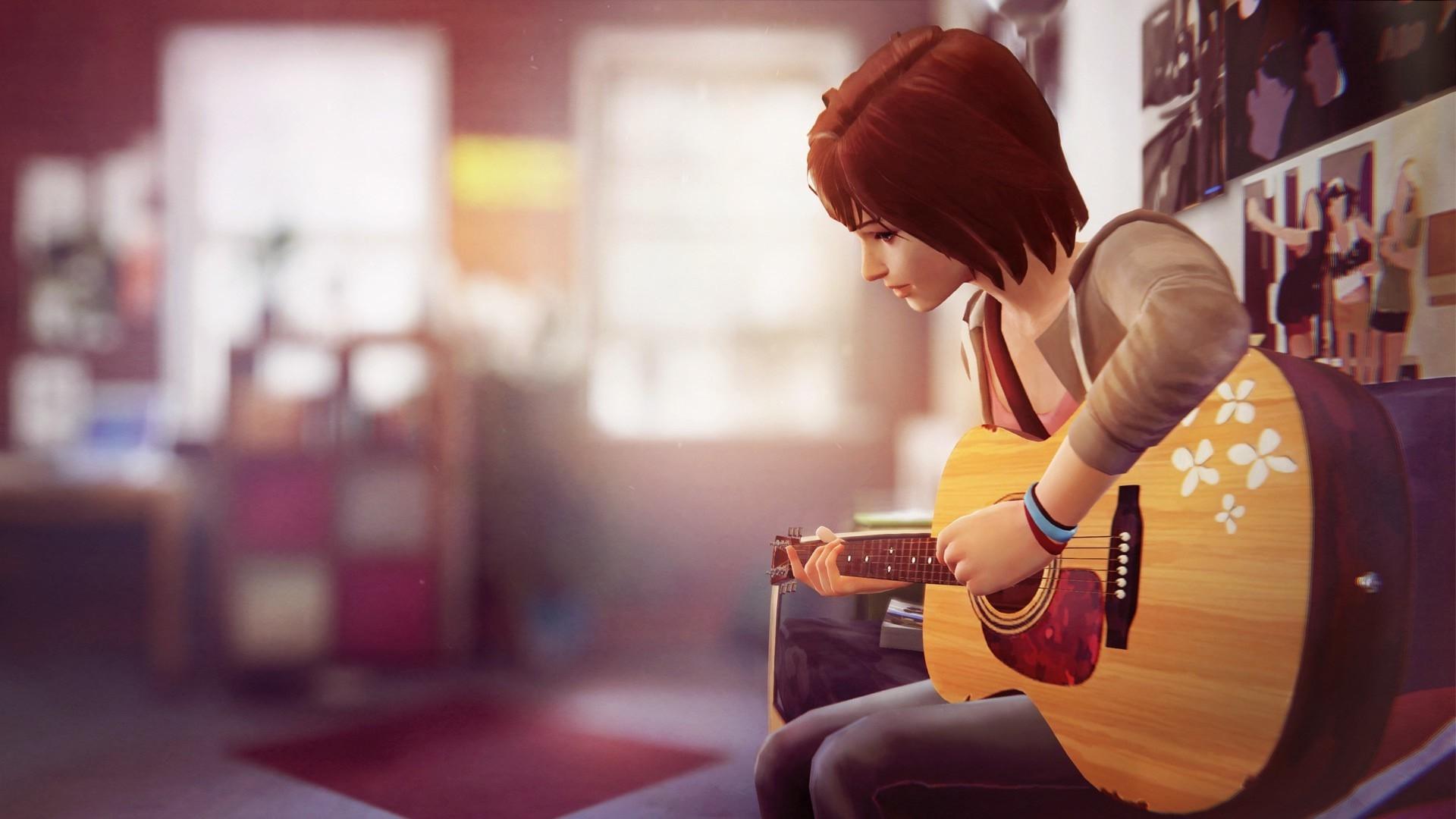 Res: 1920x1080, Anime fantasy girl playing guitar wallpaper