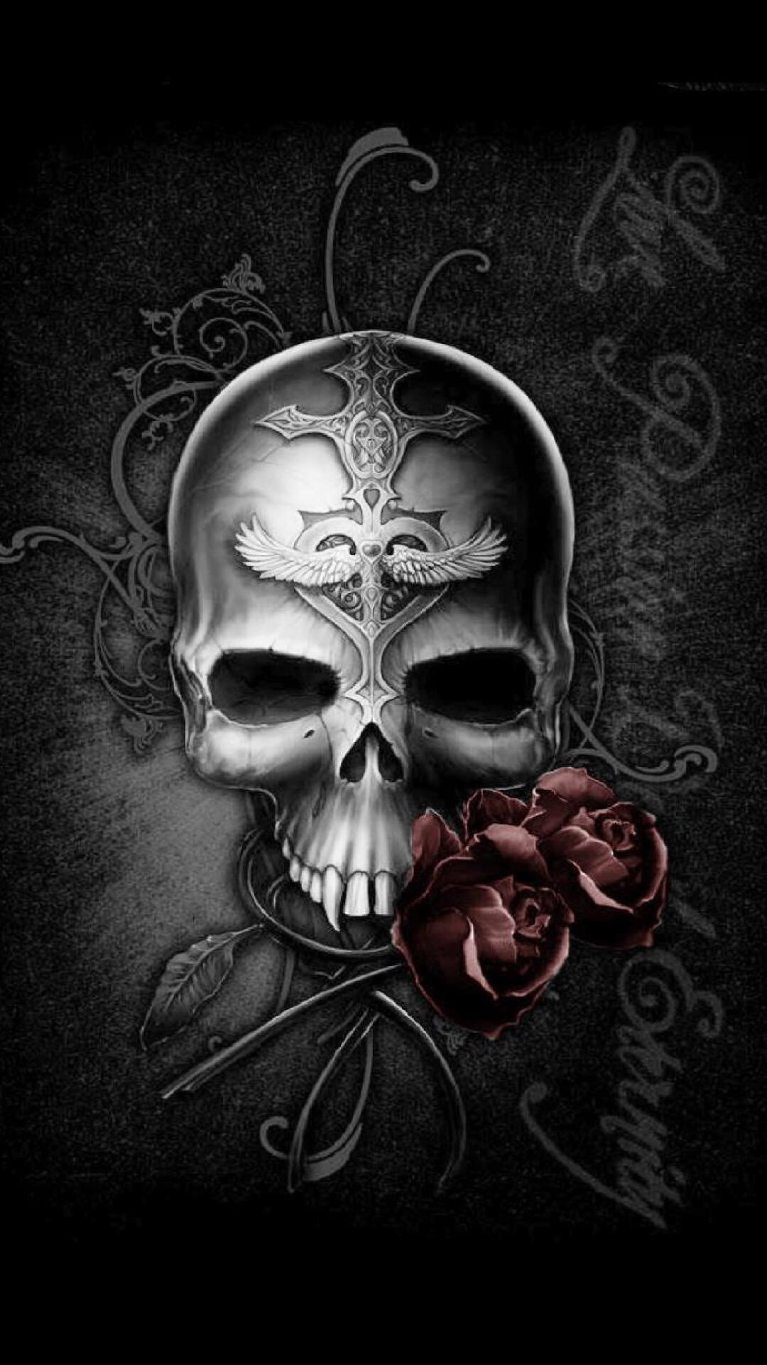 Res: 1080x1920, ... Badass Wallpapers For Android 03 0f 40 Dark Skull and Rose