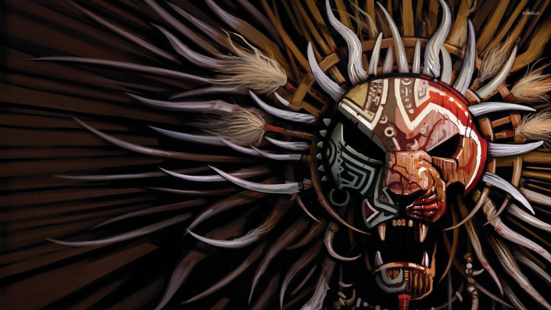 Res: 1920x1080, Tribal mask wallpaper