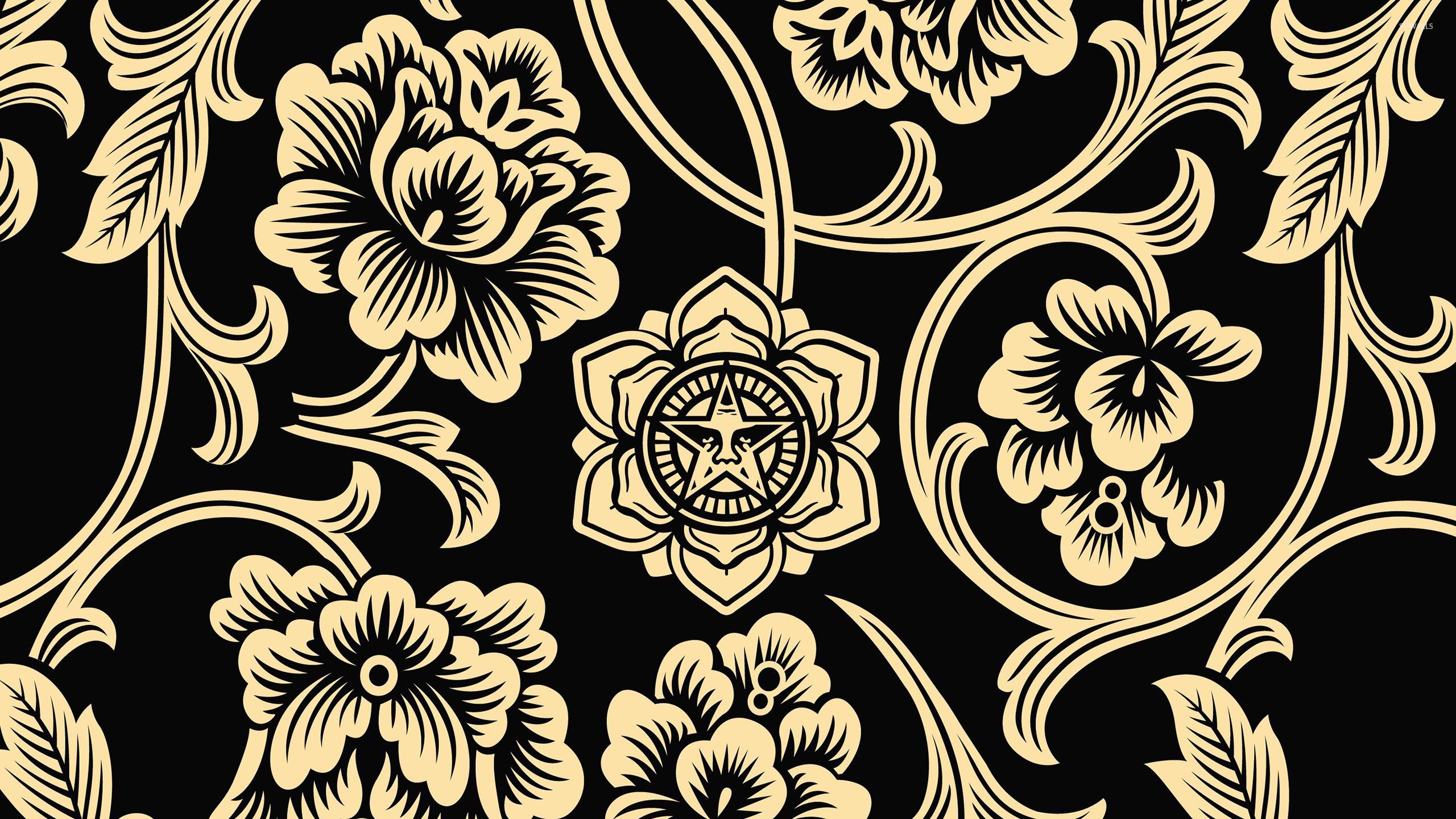 Res: 2560x1440, Tribal golden flowers on dark background wallpaper