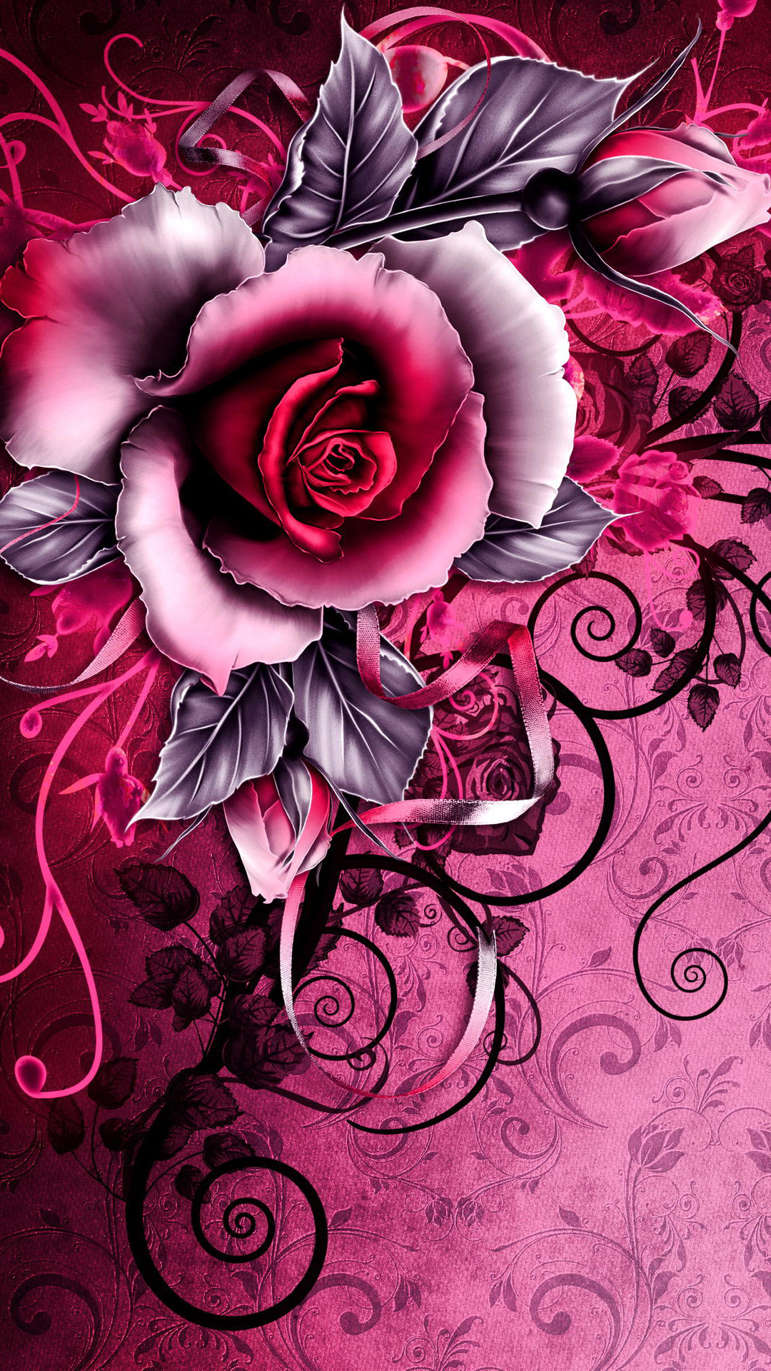 Res: 1080x1920, Vintage Tribal Red Rose Android Wallpaper ...