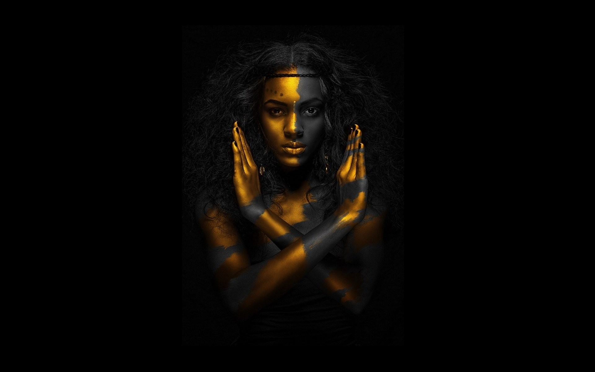 Res: 1920x1200,  Egyptian qeen gold black woman  resolution wallpaper .