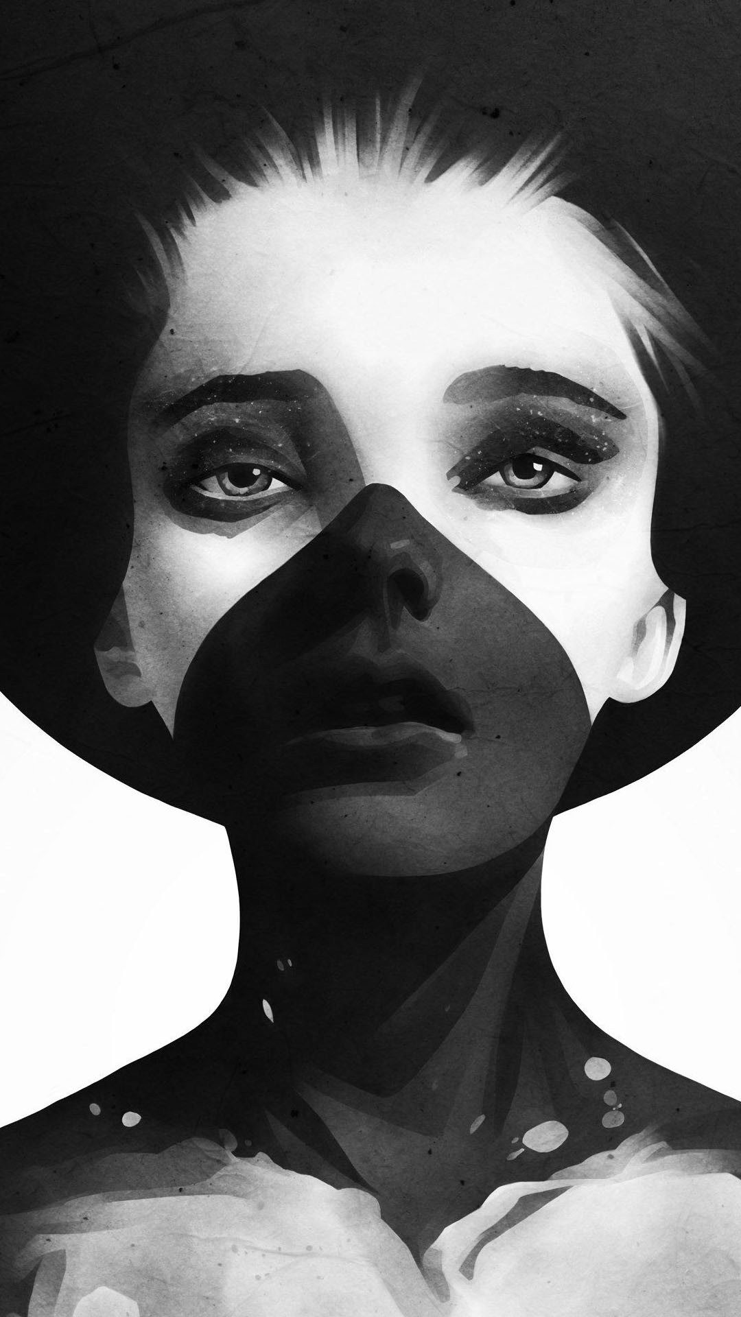 Res: 1080x1920, Download Black And White Woman Painting Wallpaper