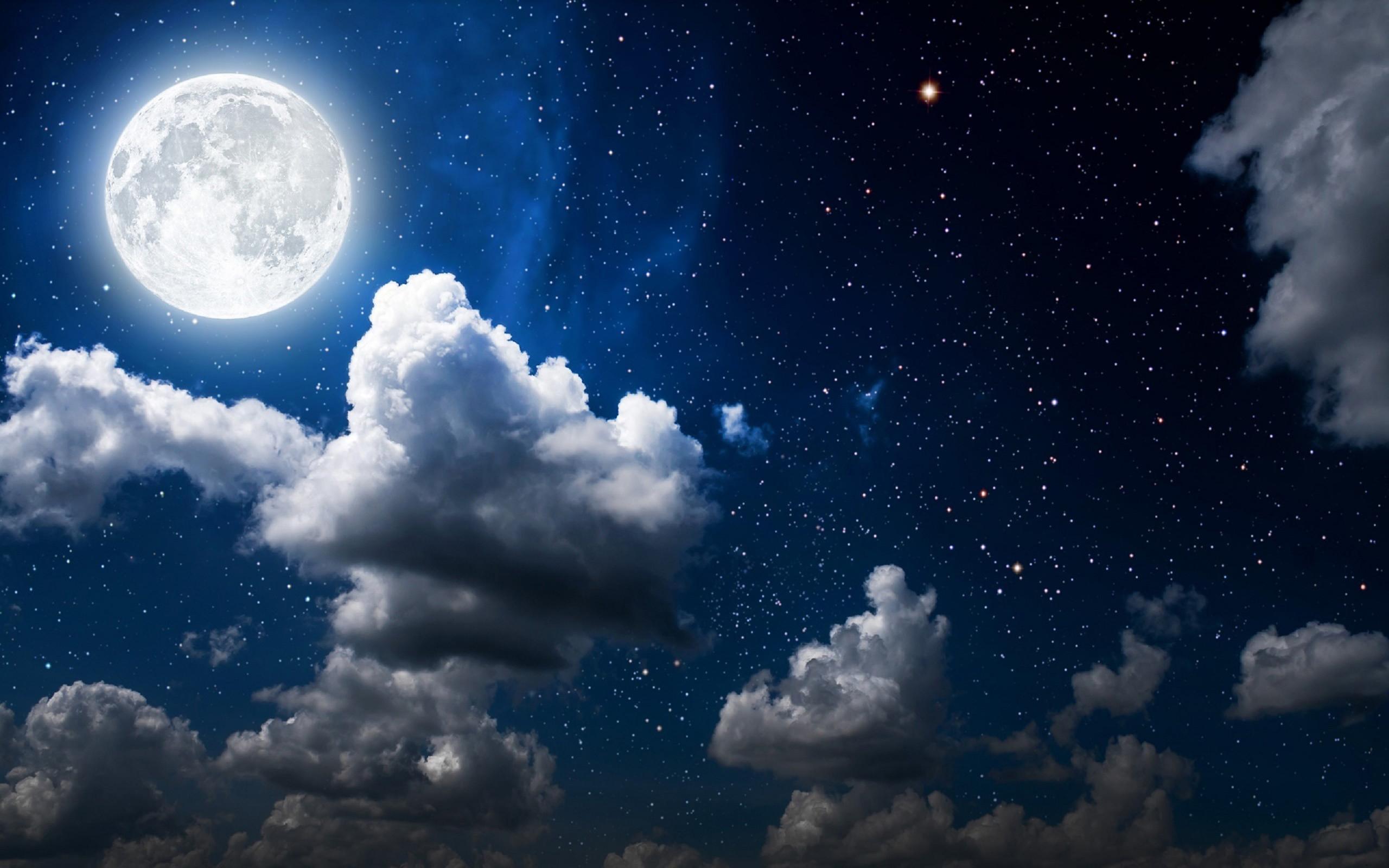 Res: 2560x1600, Moon Clouds Dark Sky Wallpaper