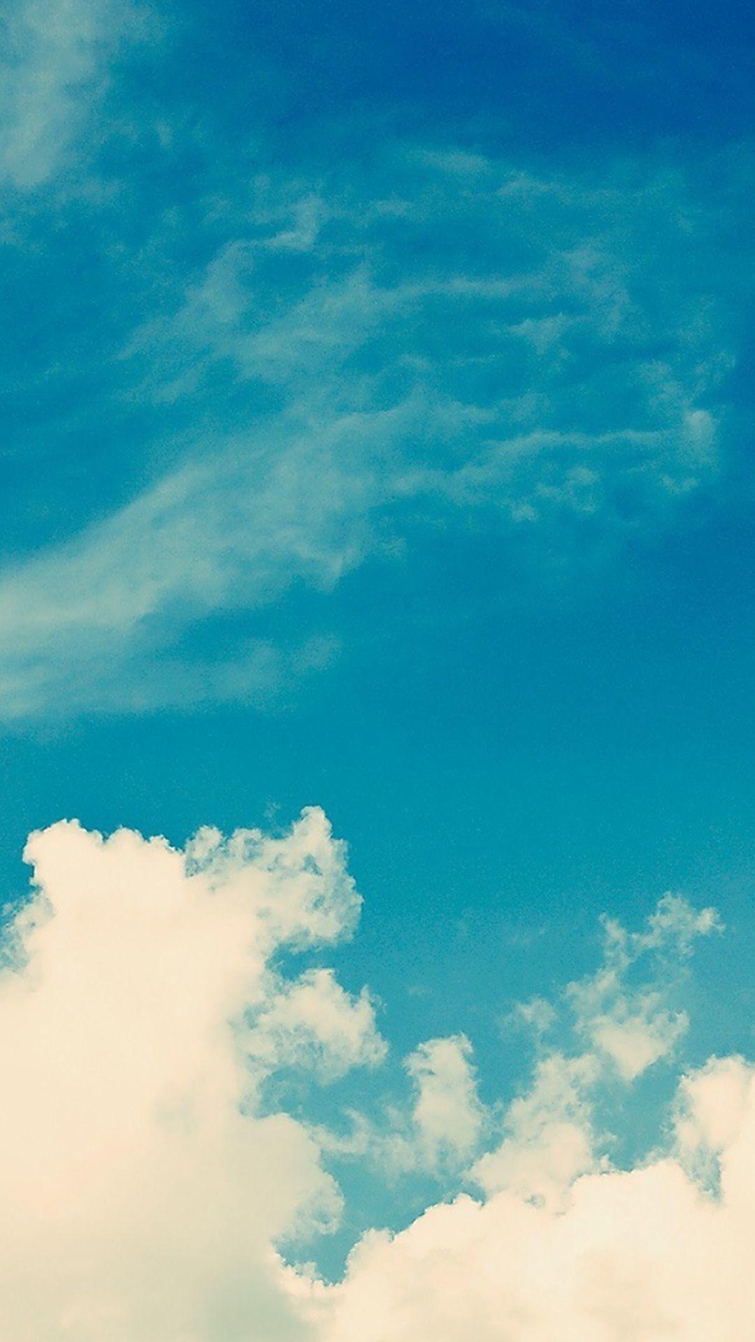 Res: 1080x1920, White Vintage Clouds Blu Sky iPhone 6 Plus HD Wallpaper