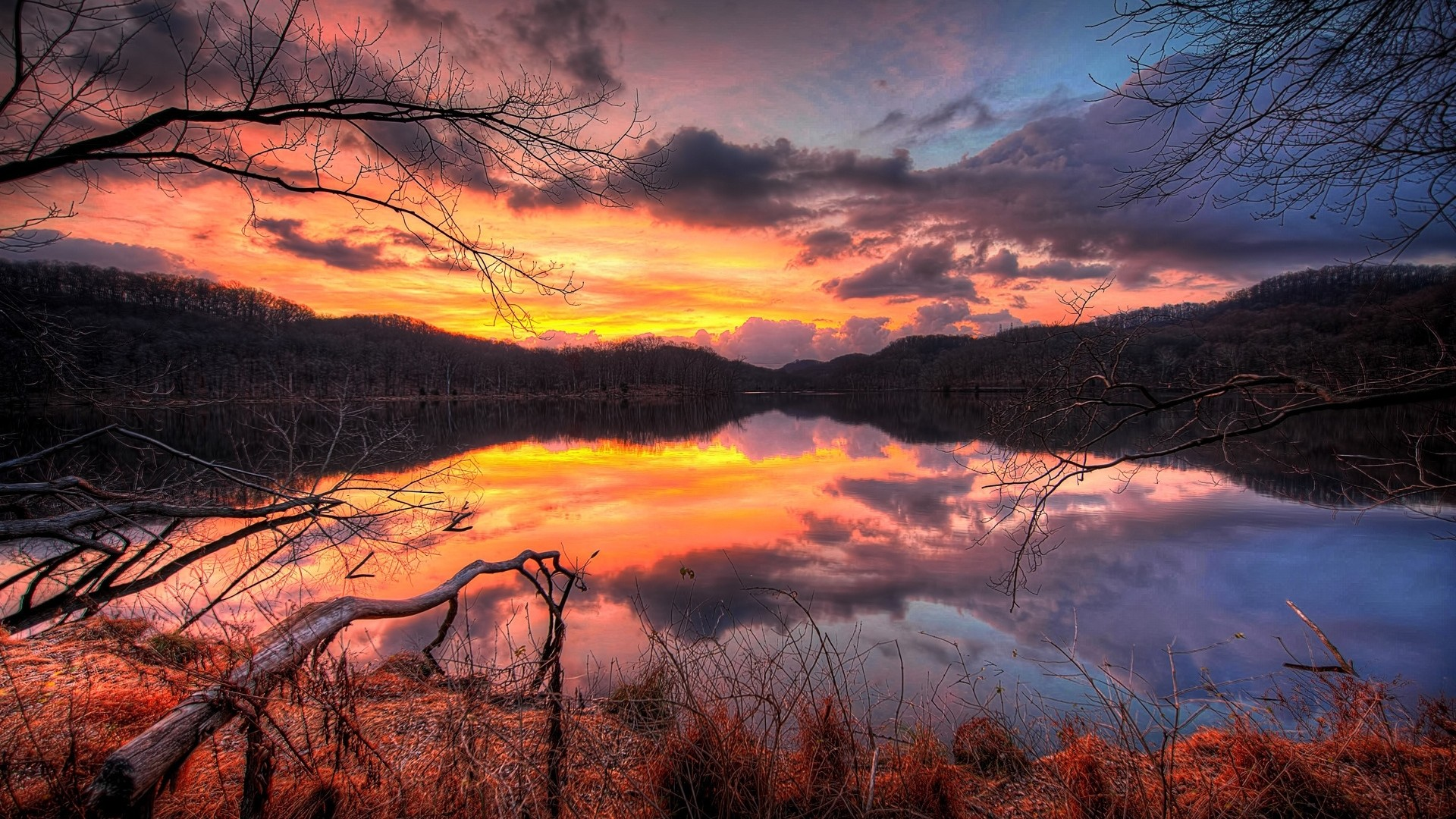 Res: 1920x1080, Superb Nature Trees Clouds Sunset Lake