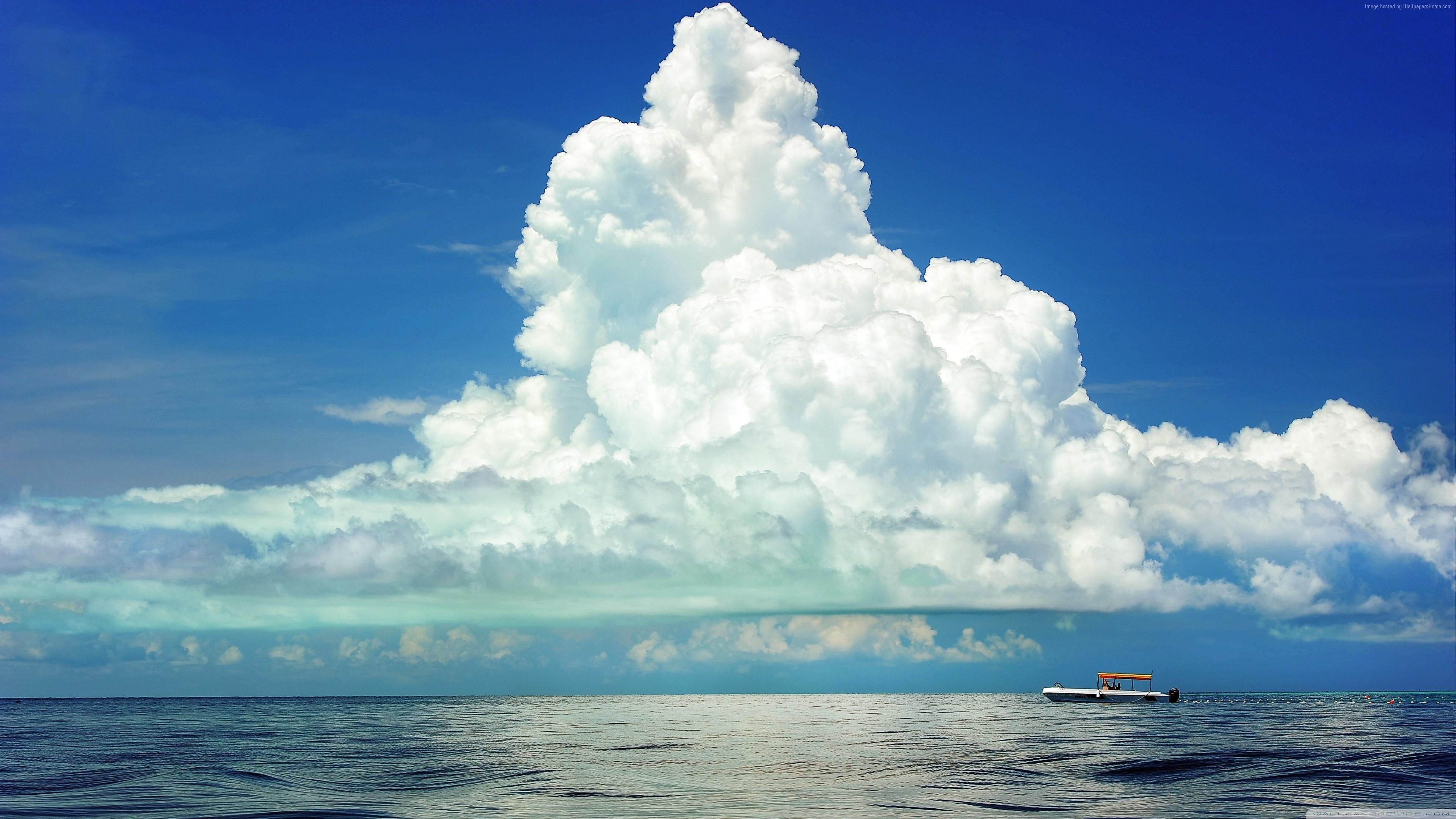 Res: 3840x2160, cumulus clouds, 4k, HD wallpaper, sky, sea (horizontal) ...