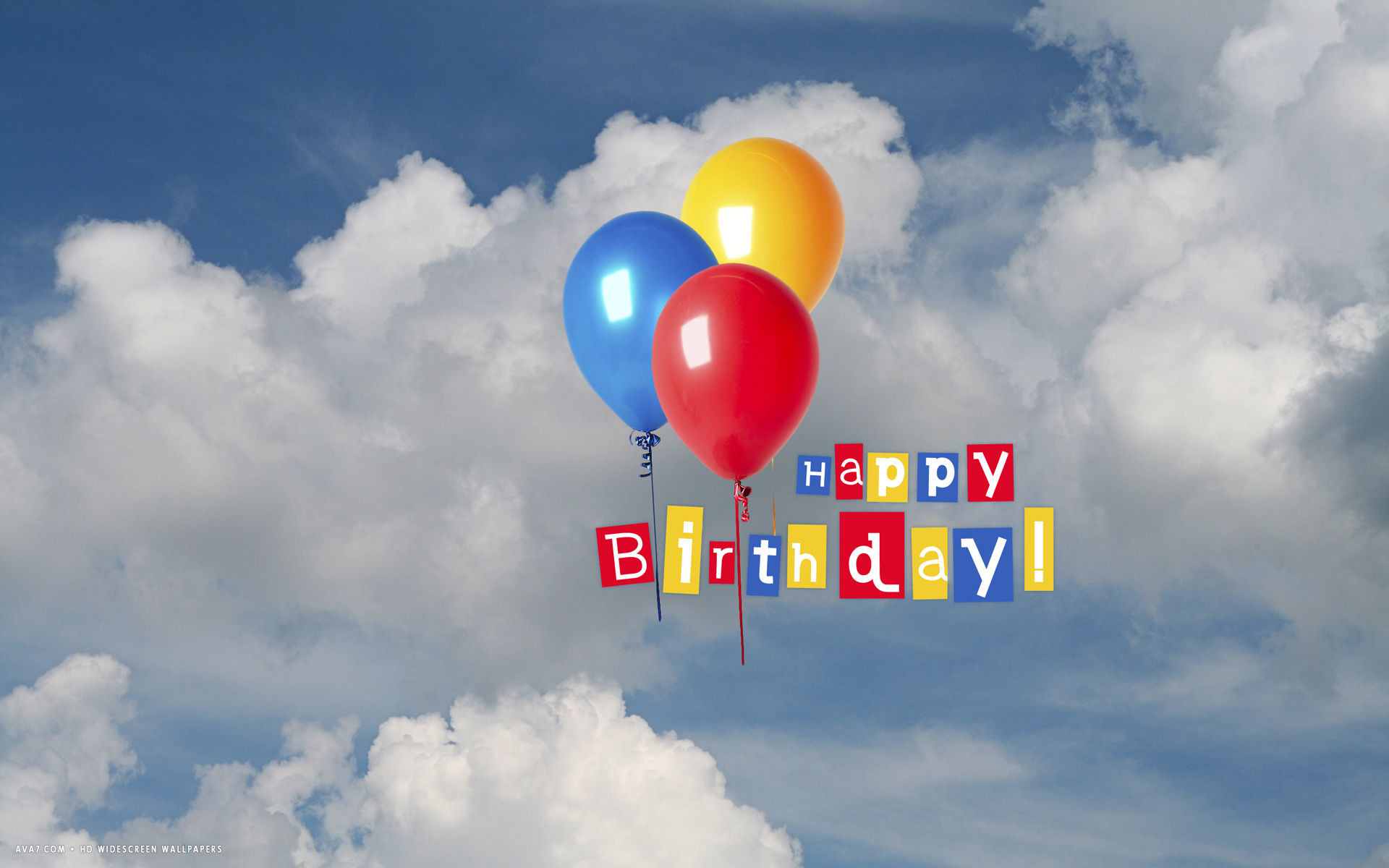 Res: 1920x1200, happy birthday flying balloons blue sky clouds hd widescreen wallpaper