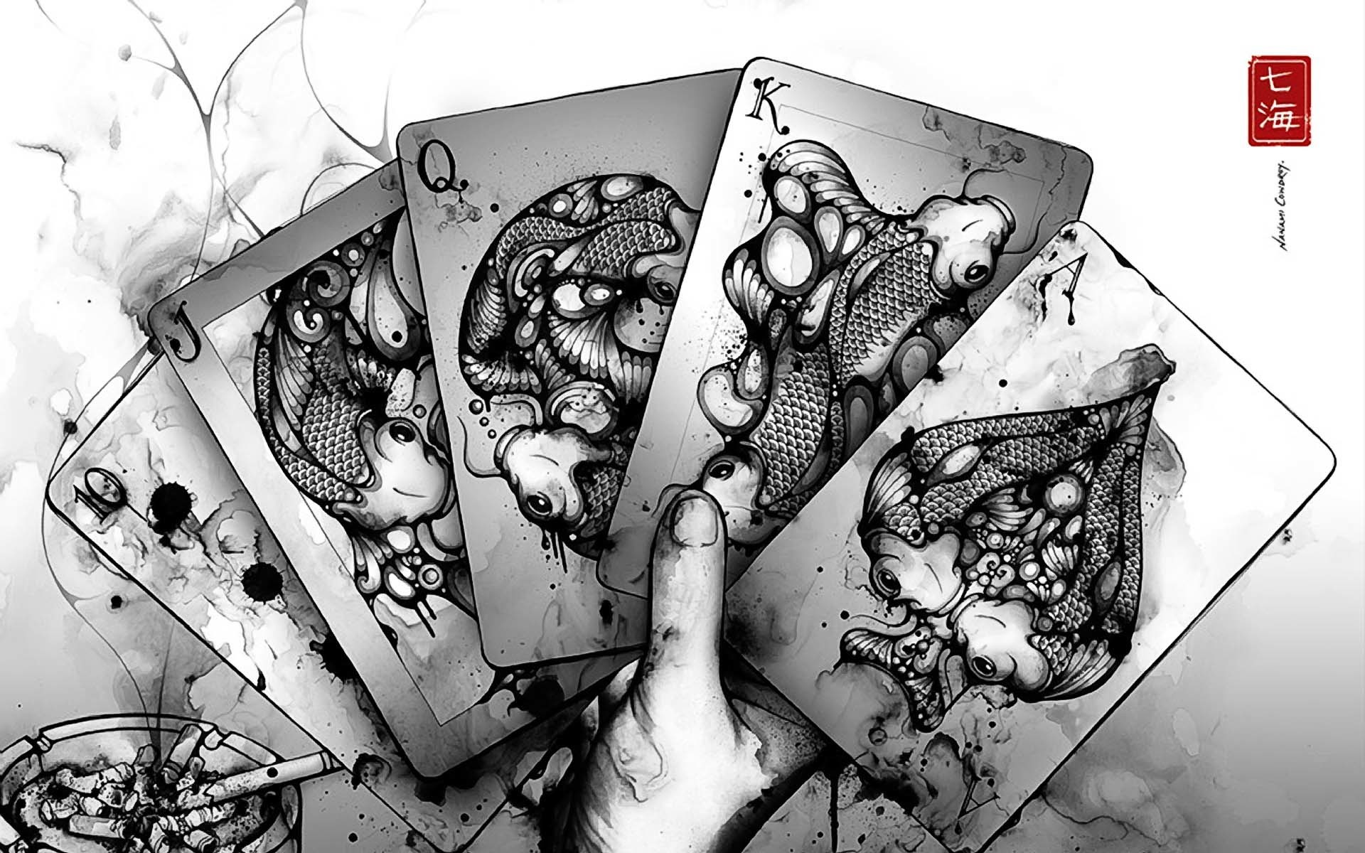 Res: 1920x1200, Cool PC Wallpapers Game 1 Asian Oriental Cards Fantasy Drawing Art Koi