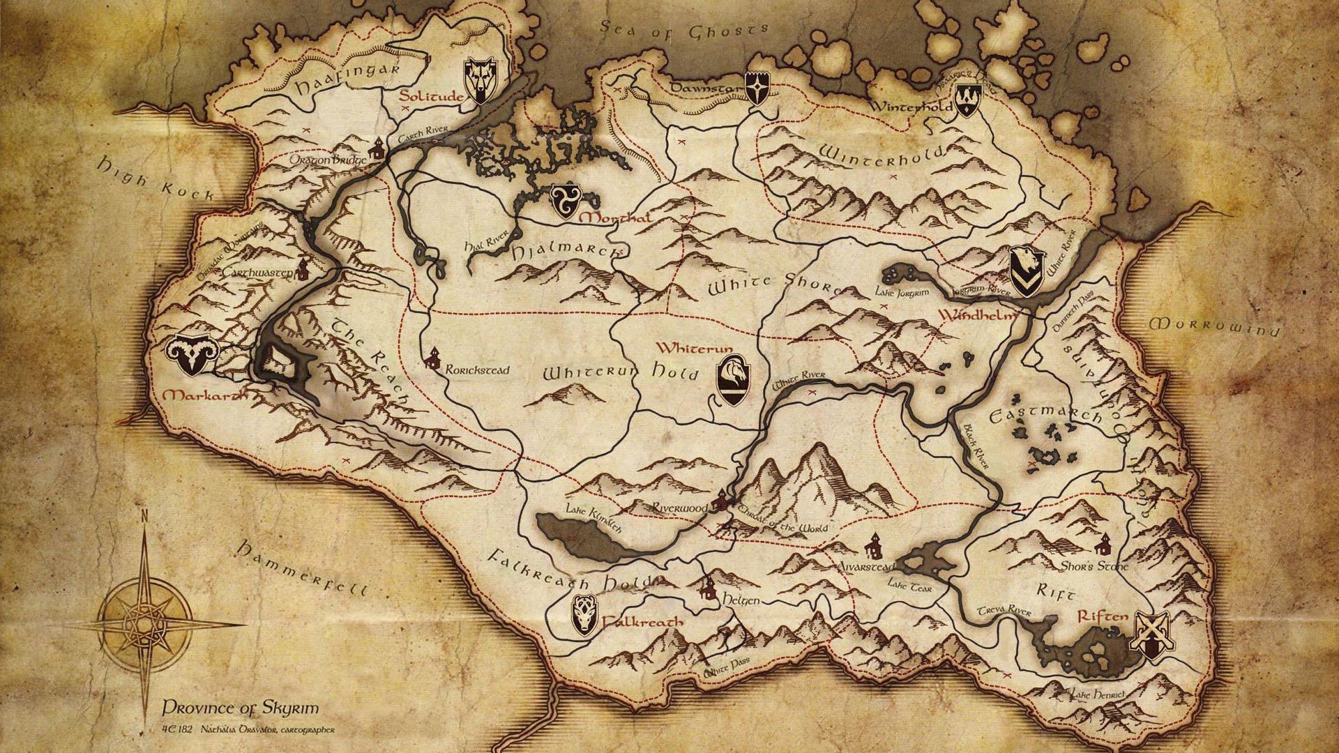 Res: 1920x1080, Paper, The Elder Scrolls V, Skyrim, Old, Map