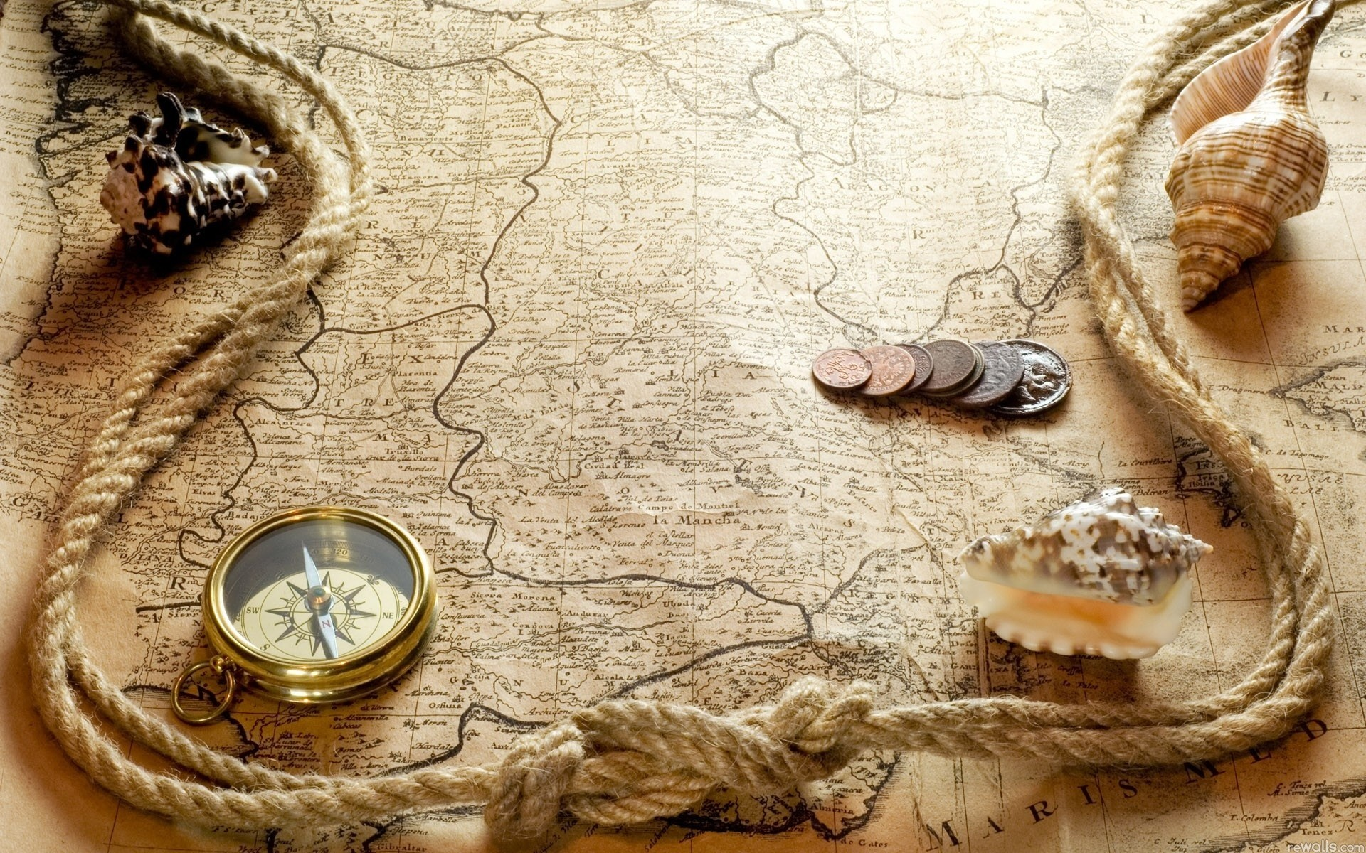 Res: 1920x1200, Compass with Old Map Wallpaper iPhone Wallpaper