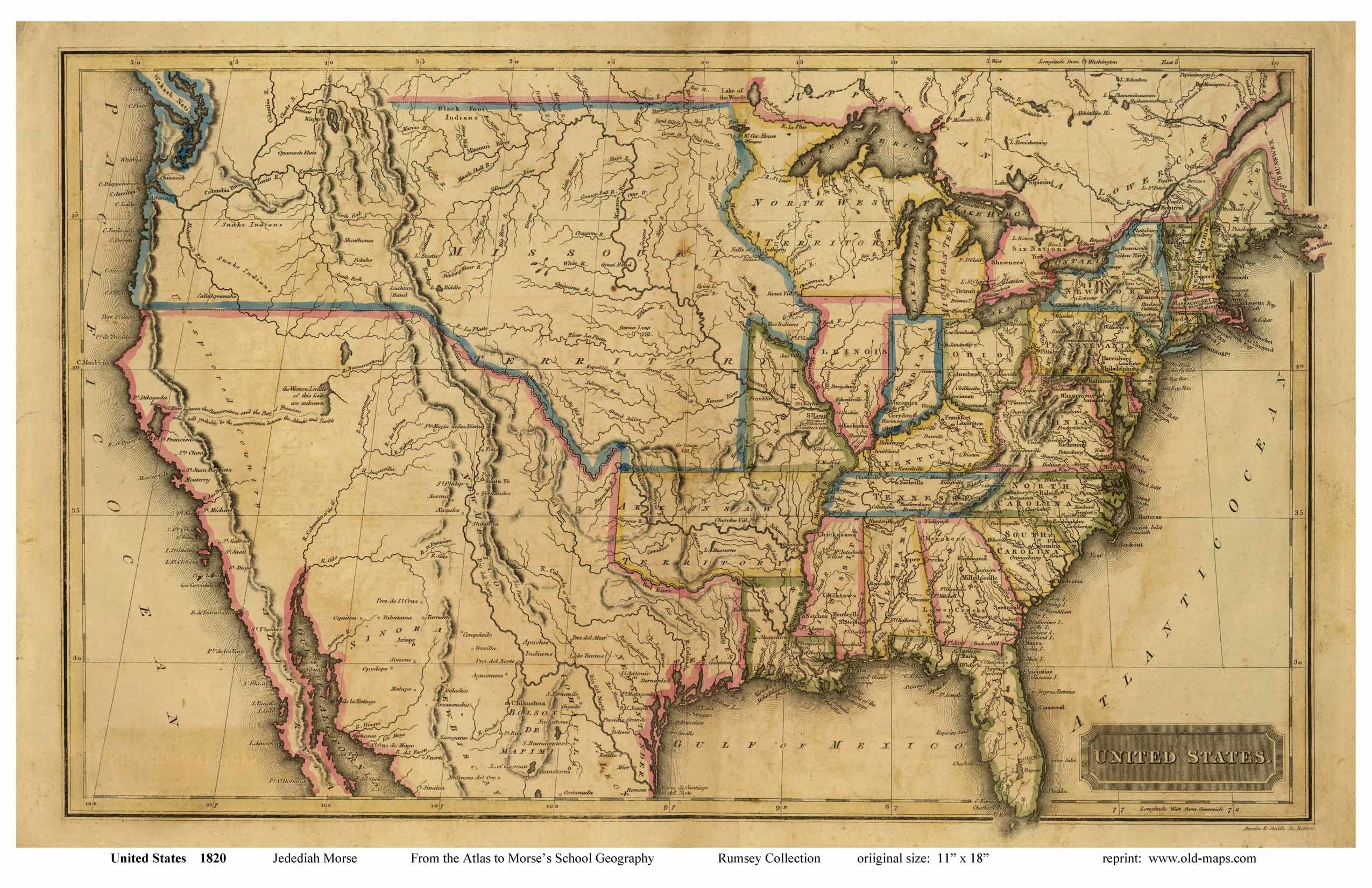 Res: 2550x1650, Old US map from early 1800's.