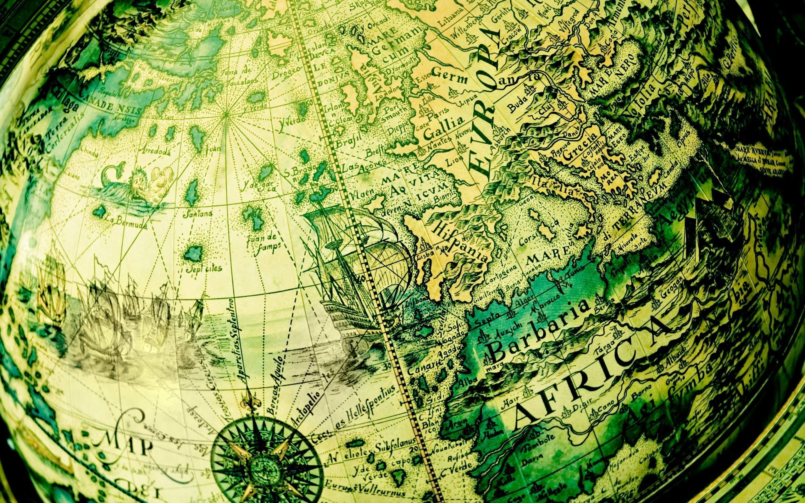 Res: 2560x1600, Barbaria Africa World Globe Antique Map HD Wallpaper - ZoomWalls