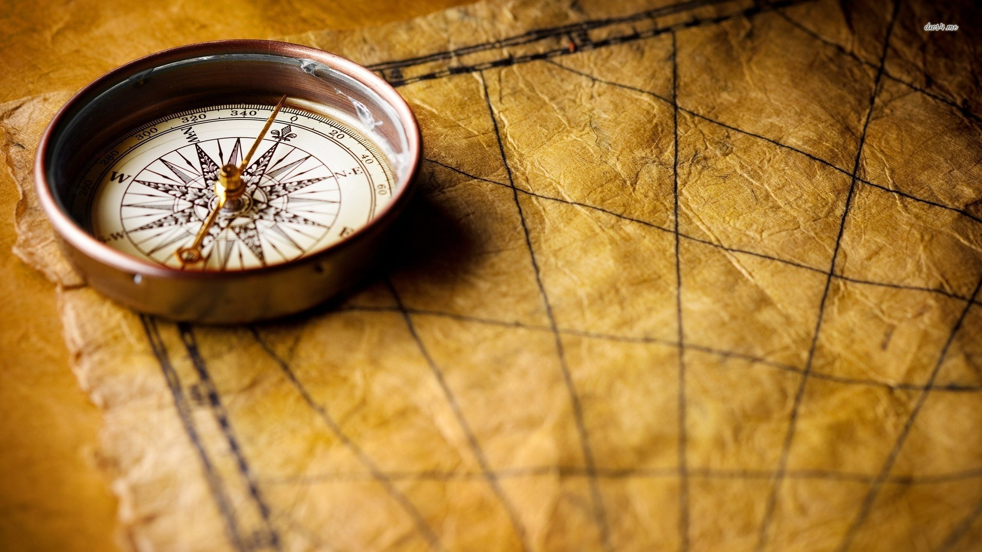 Res: 1920x1080, ... Compass on an old map wallpaper  ...