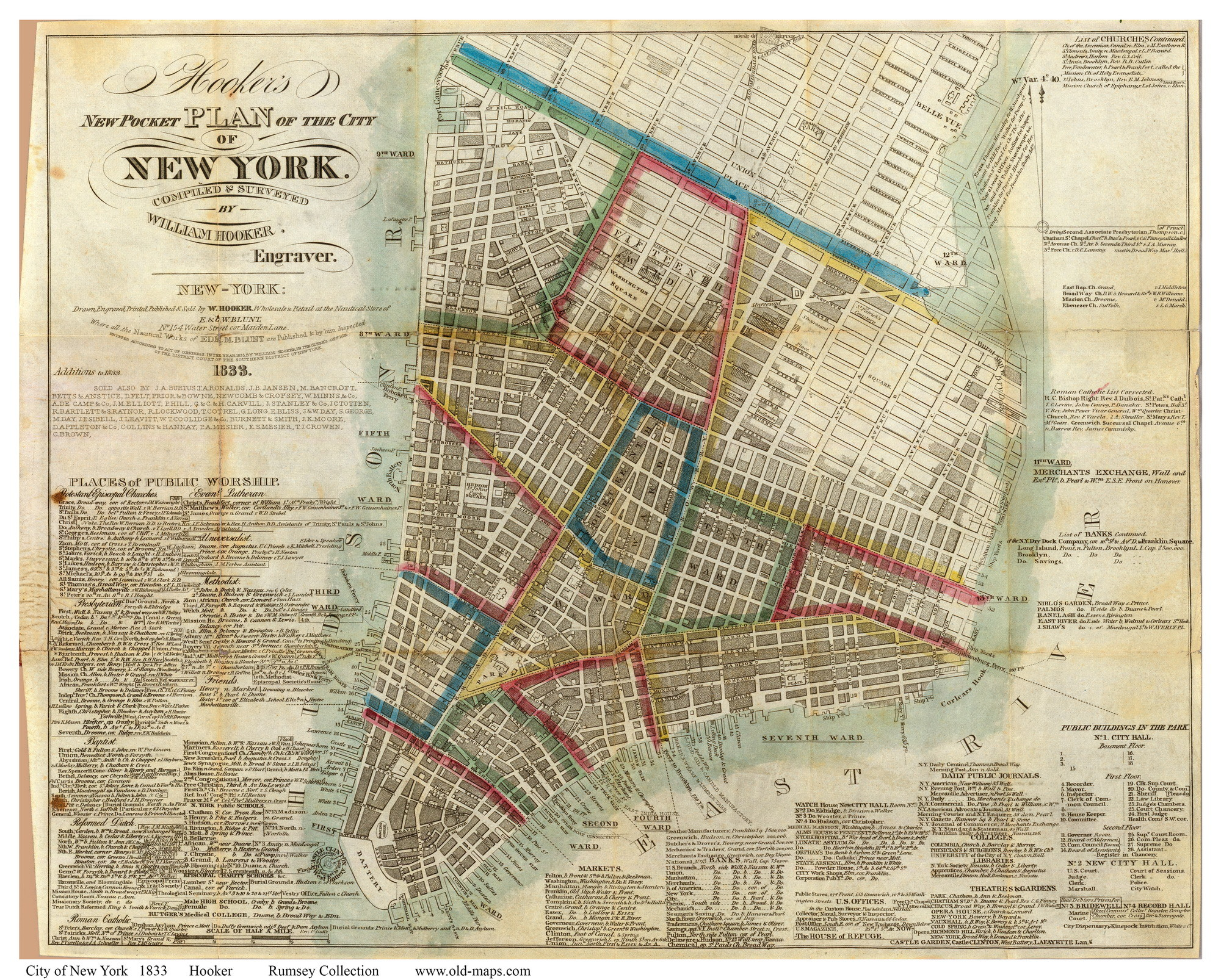 Res: 2000x1606, ... Old Maps of Manhattan - 1833 Hooker