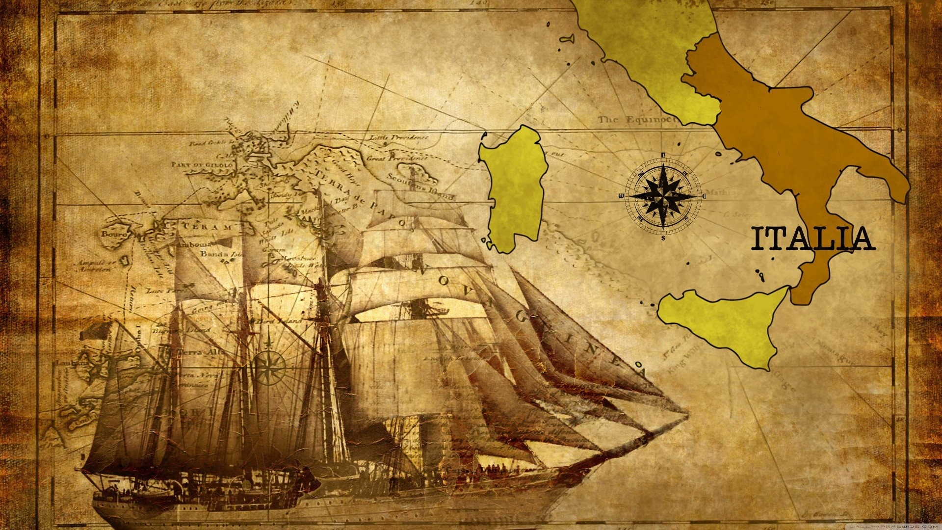 Res: 1920x1080, Similar Wallpapers. old, Map, Italy, Calabria, Historic, Compass, Vessel,  Ship