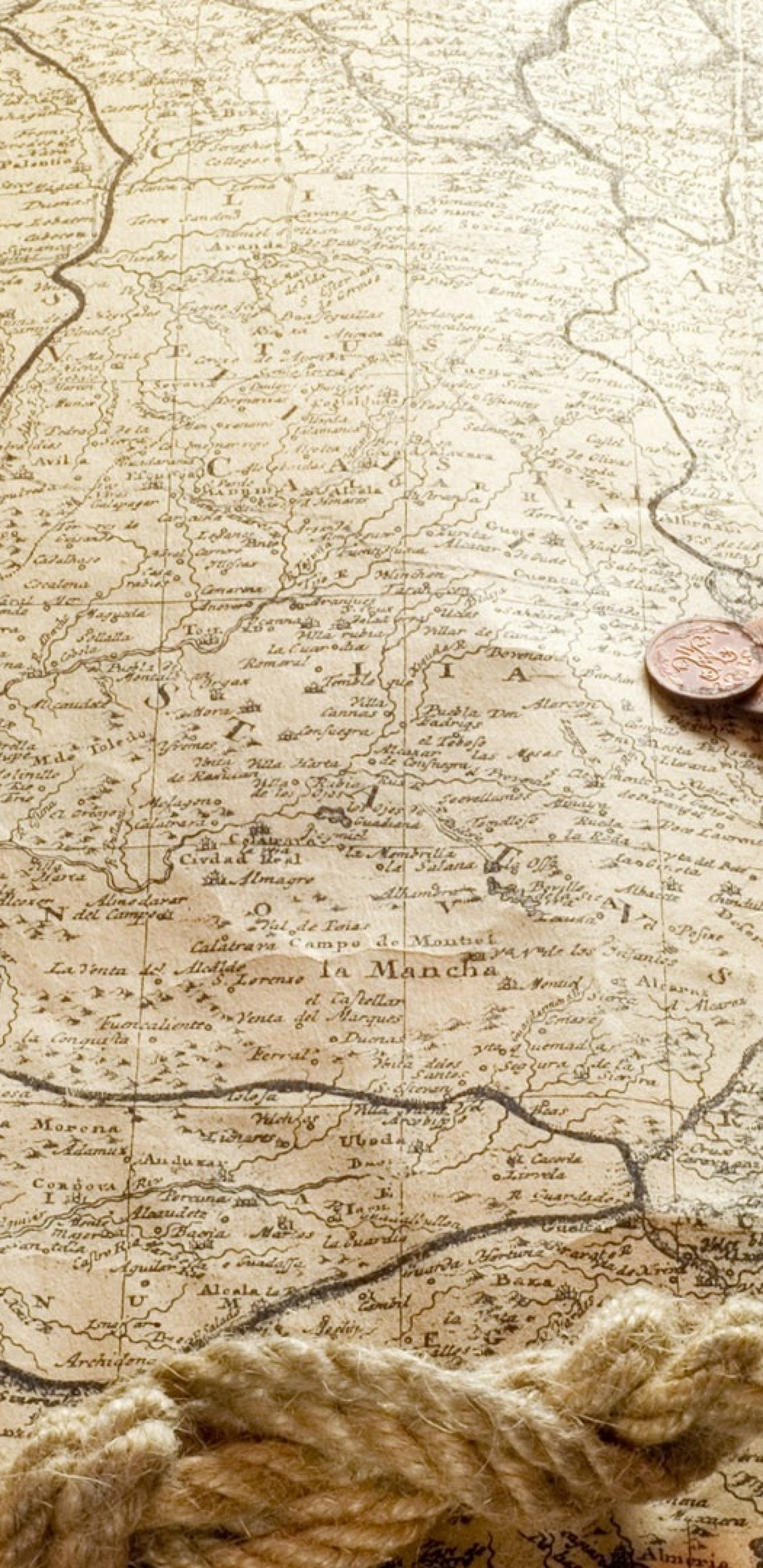 Res: 1440x2960, Old Map, Rope, Compass, Coins