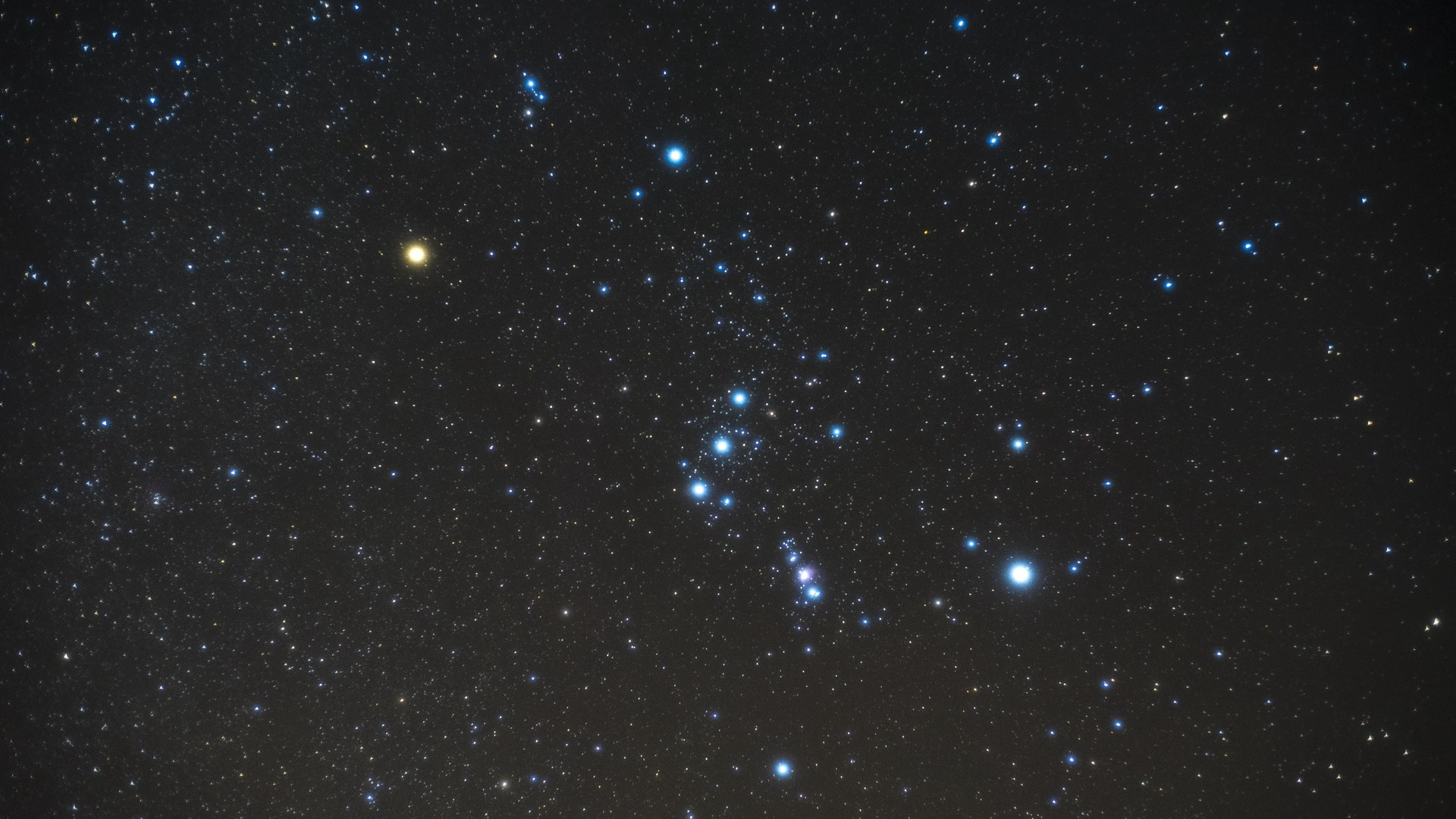 Res: 1920x1080,  Wallpaper starry sky, orion, constellation, stars, galaxy